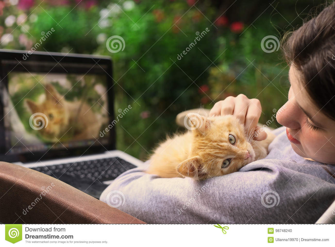 Teenager girl working on retouch photo on laptop with red kitten