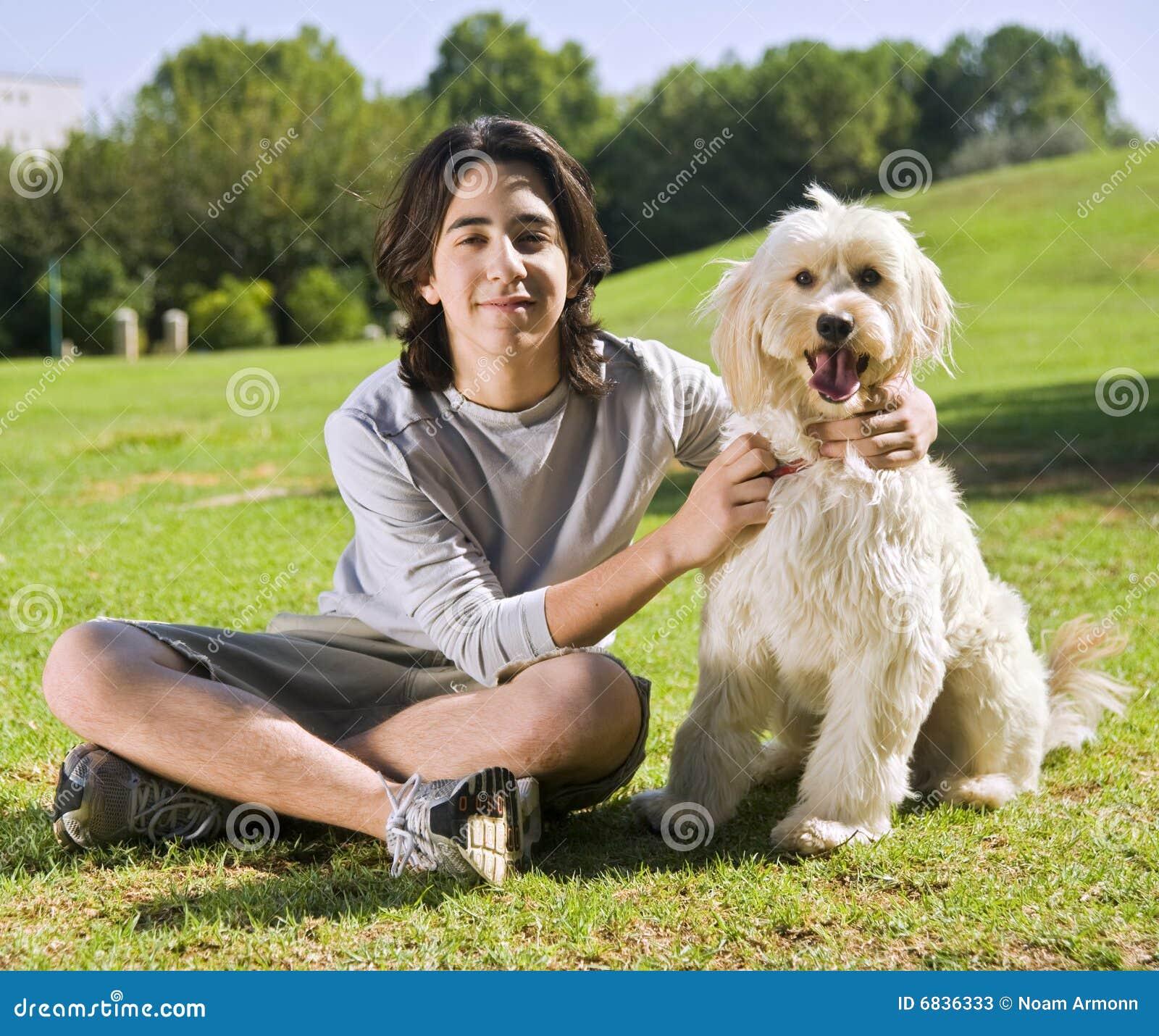 Teenager and his dog