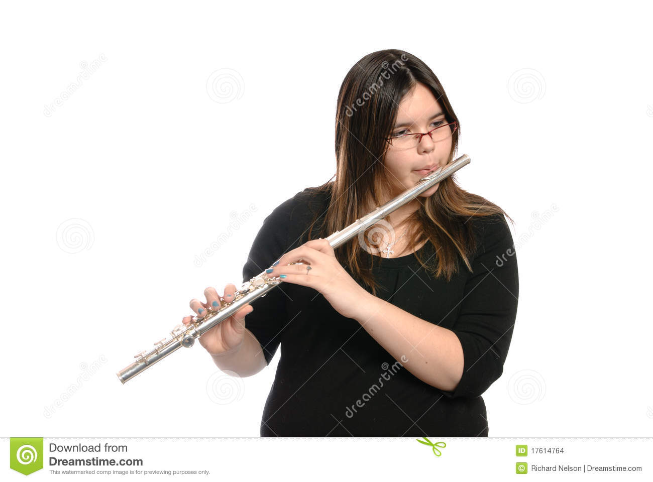 Teenager Playing Flute