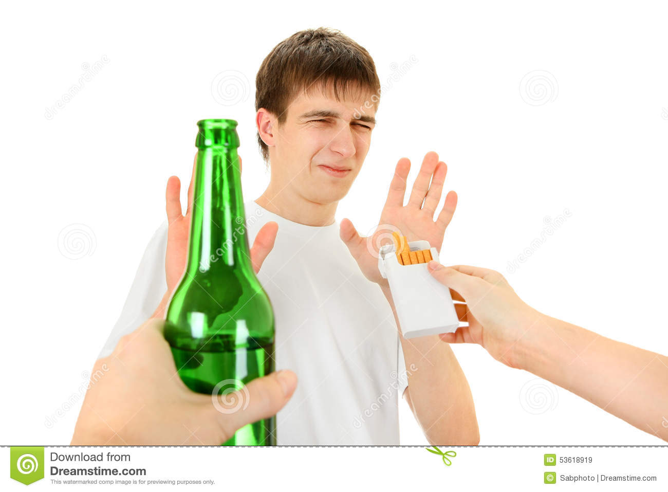 Teenager Refuse A Cigarette And Beer Stock Photo Image  : teenager refuse cigarette beer isolated white background 53618919 from www.dreamstime.com size 1300 x 957 jpeg 82kB