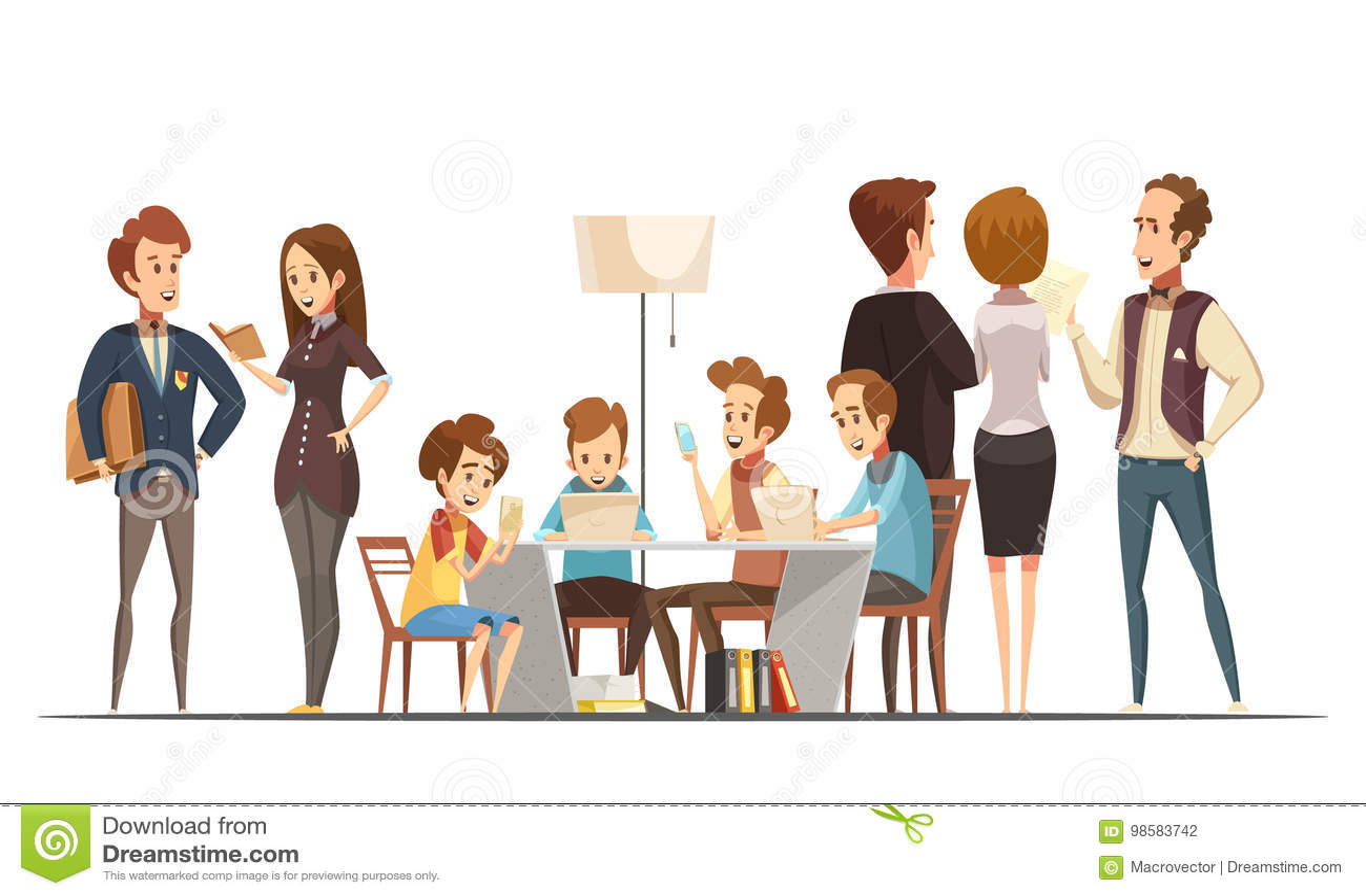 Karikatur mit Teenagern