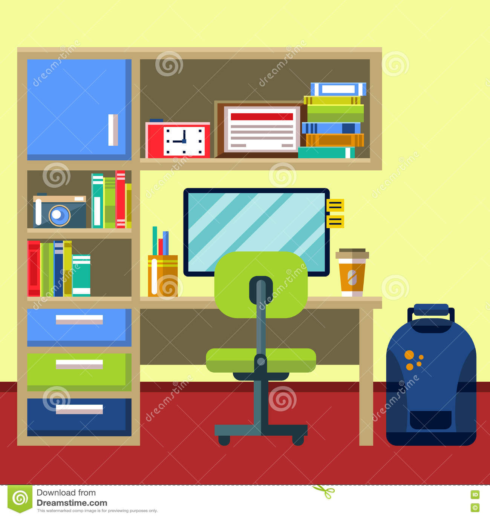 Rc Furniture Interior Design Stock Dealer ~ Minimalistic home office stock photography cartoondealer