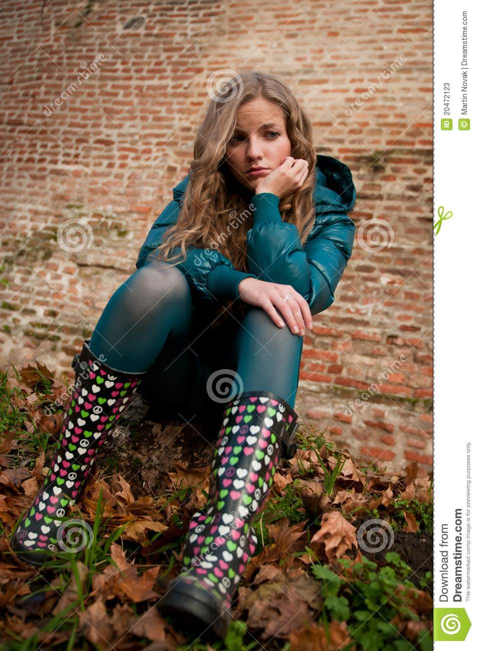 Teenager (young Woman) Depressed Outdoors Stock Image