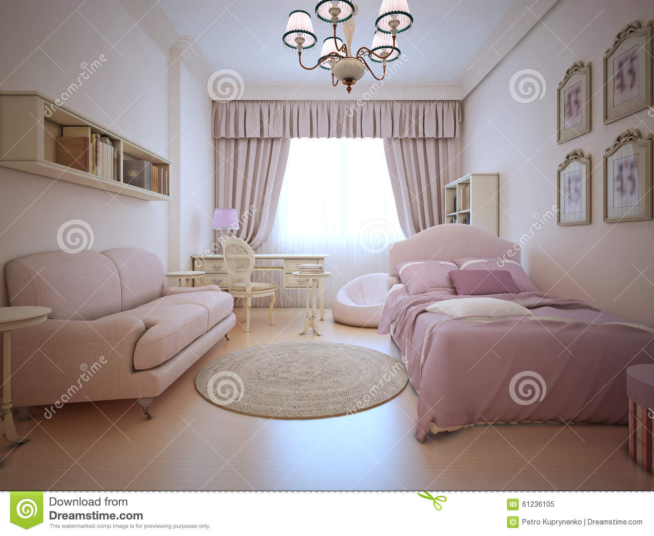 Stupendous Teenagers Bedroom With Sofa And Bed Stock Illustration Evergreenethics Interior Chair Design Evergreenethicsorg