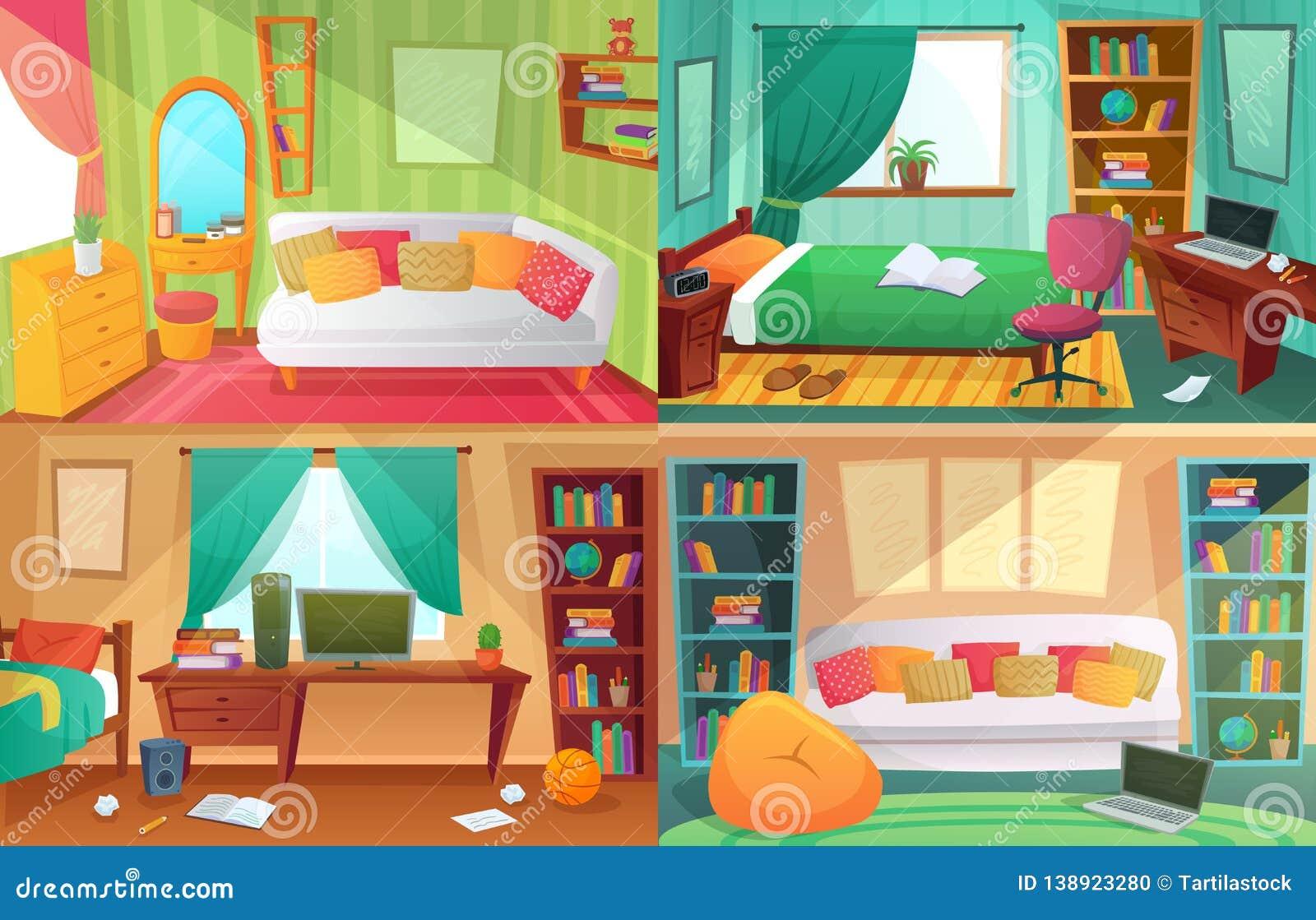 Teenagers Bedroom. Student Cluttered Room, Teenager College ...