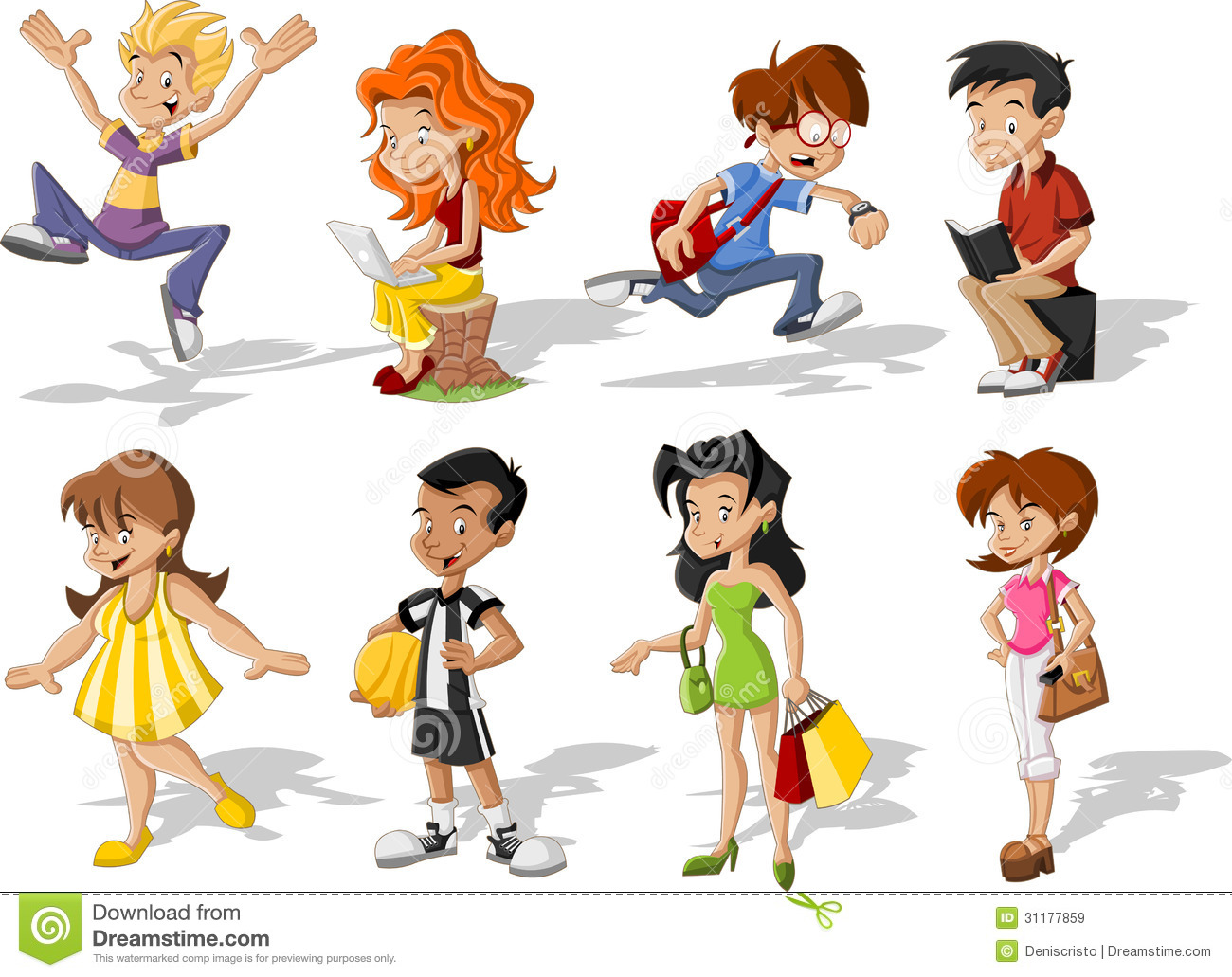 cartoon teenagers young funny vector