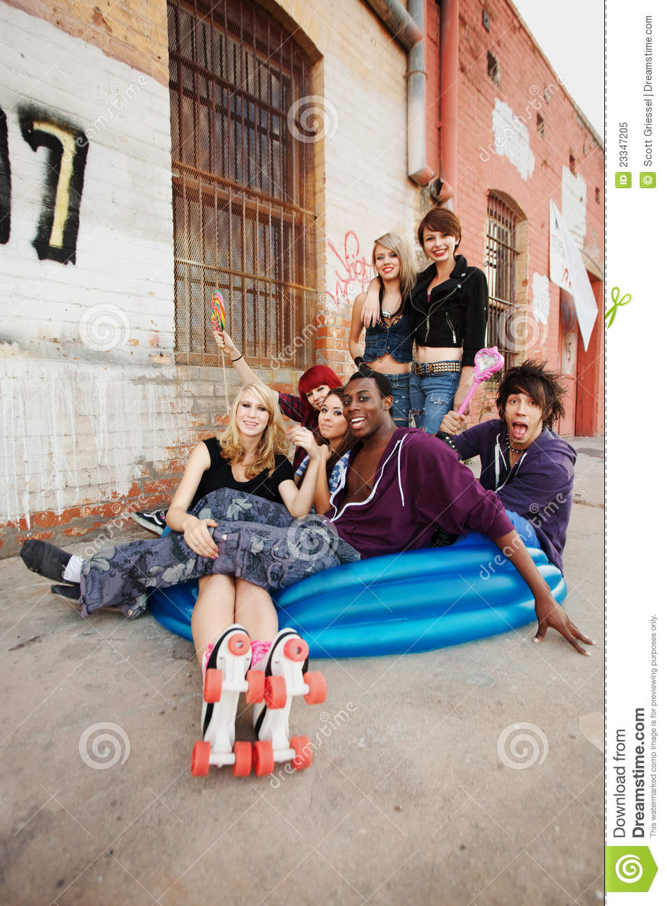 Teens Hanging Out In Alley Royalty Free Stock Photo