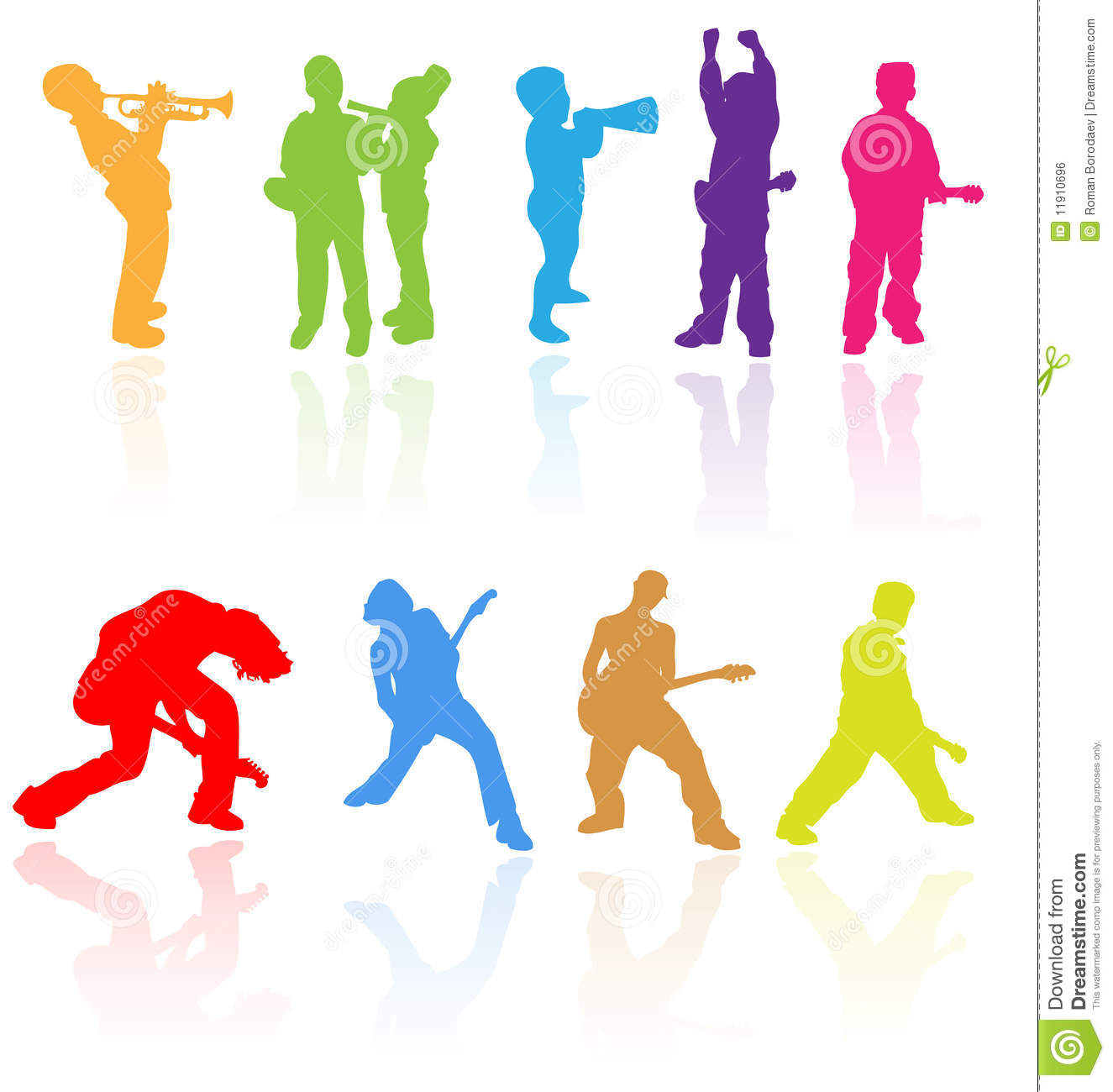 Kids children teens rock music band silhouette young child people musical clip art saxophone guitar playing play jazz youth group