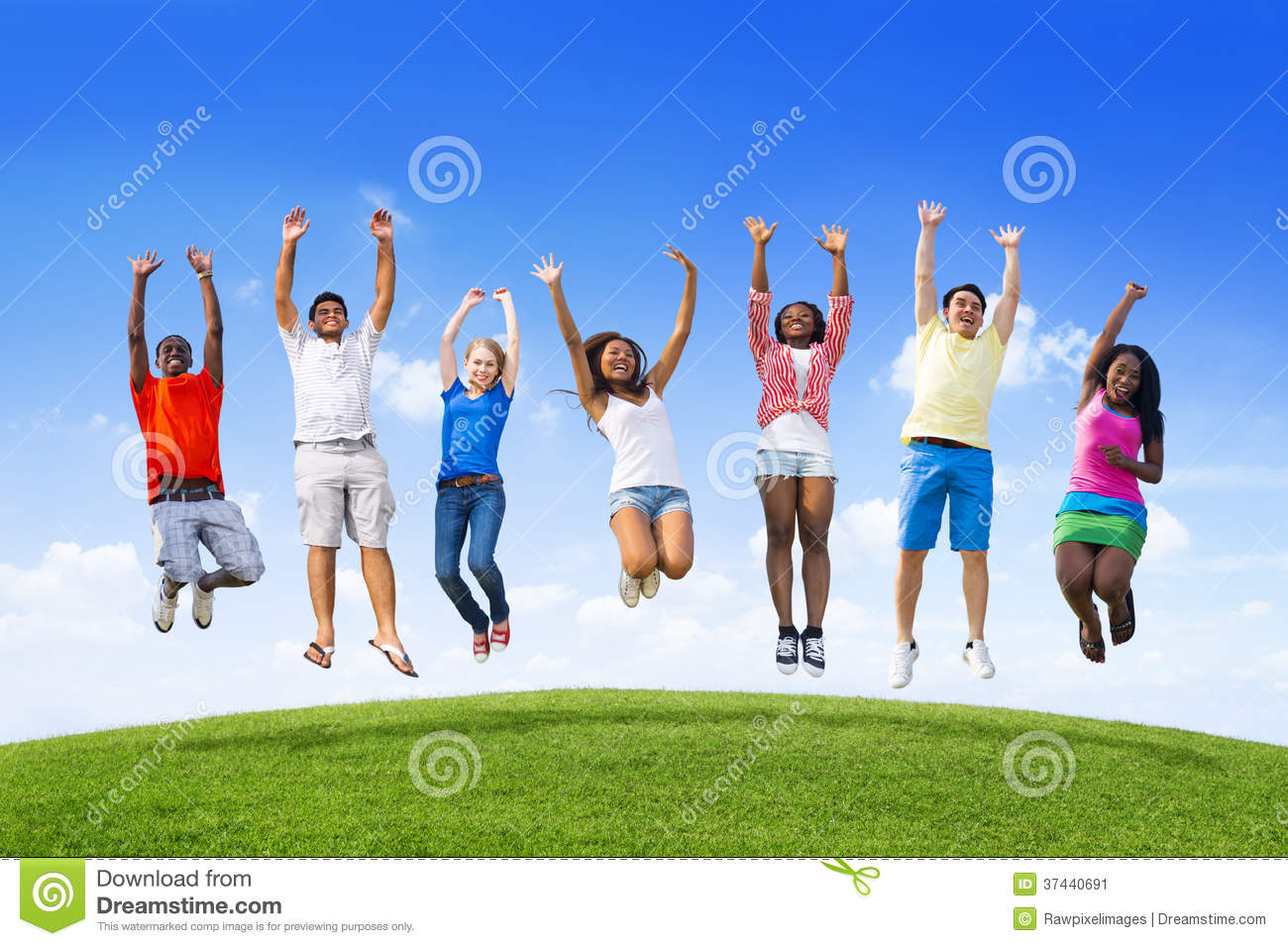 Teens Jumping On a Hill