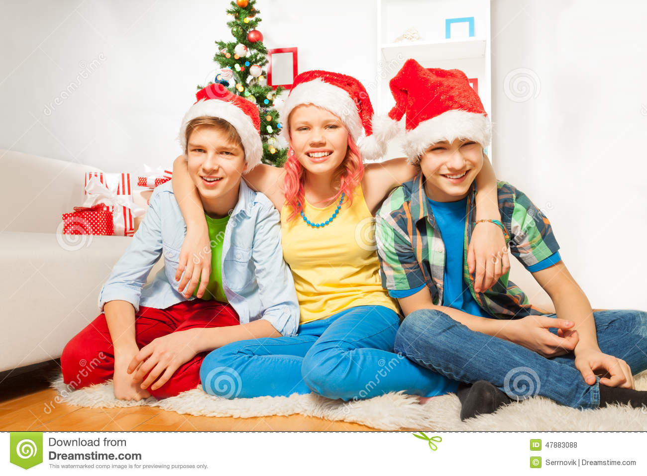 Teens Kids On New Year Party In Santa Hats Stock Photo - Image ...