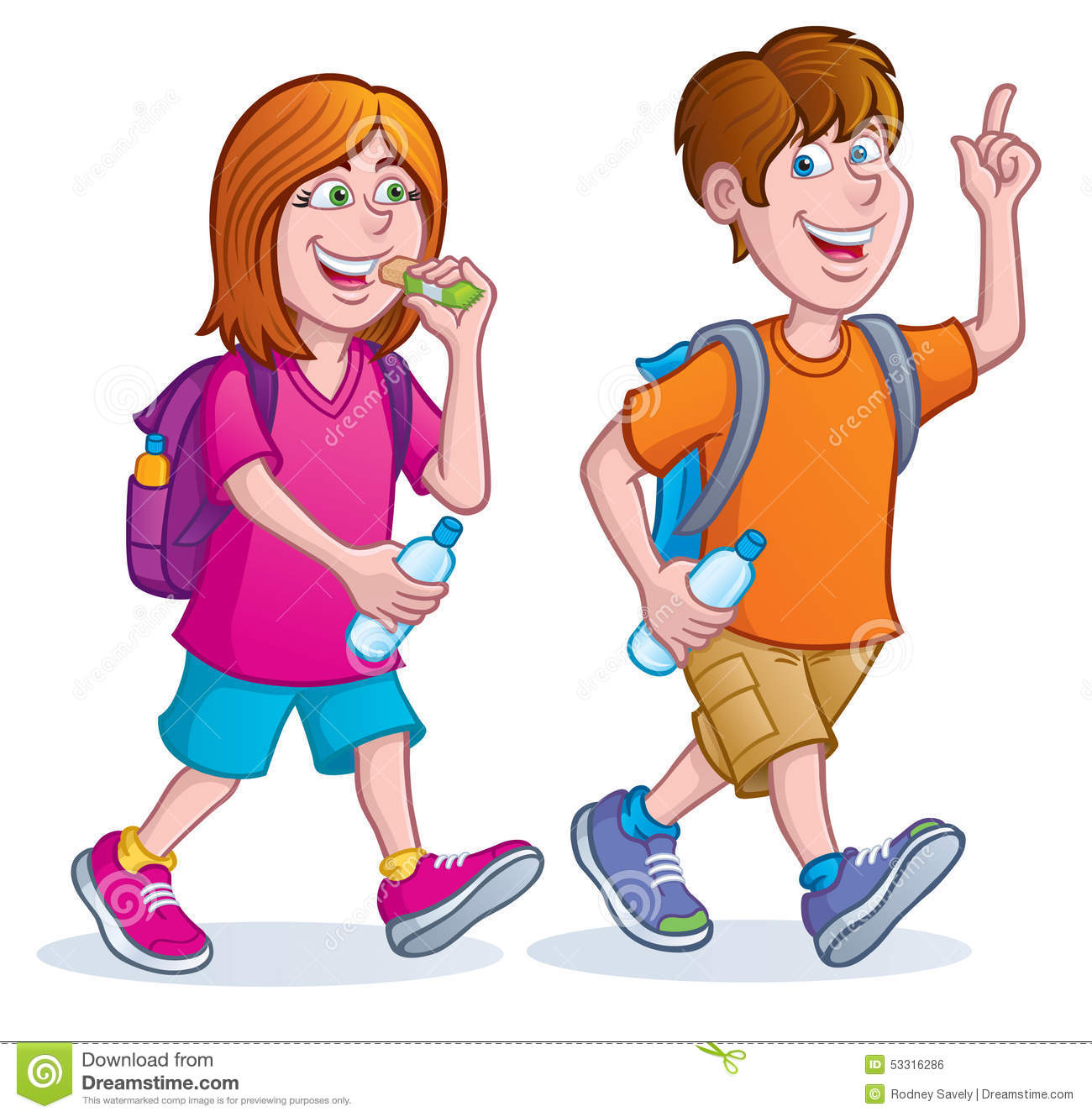 Teens Taking A Hike Stock Illustration - Image: 53316286