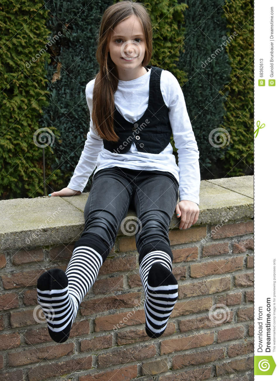 Teeny with striped socks