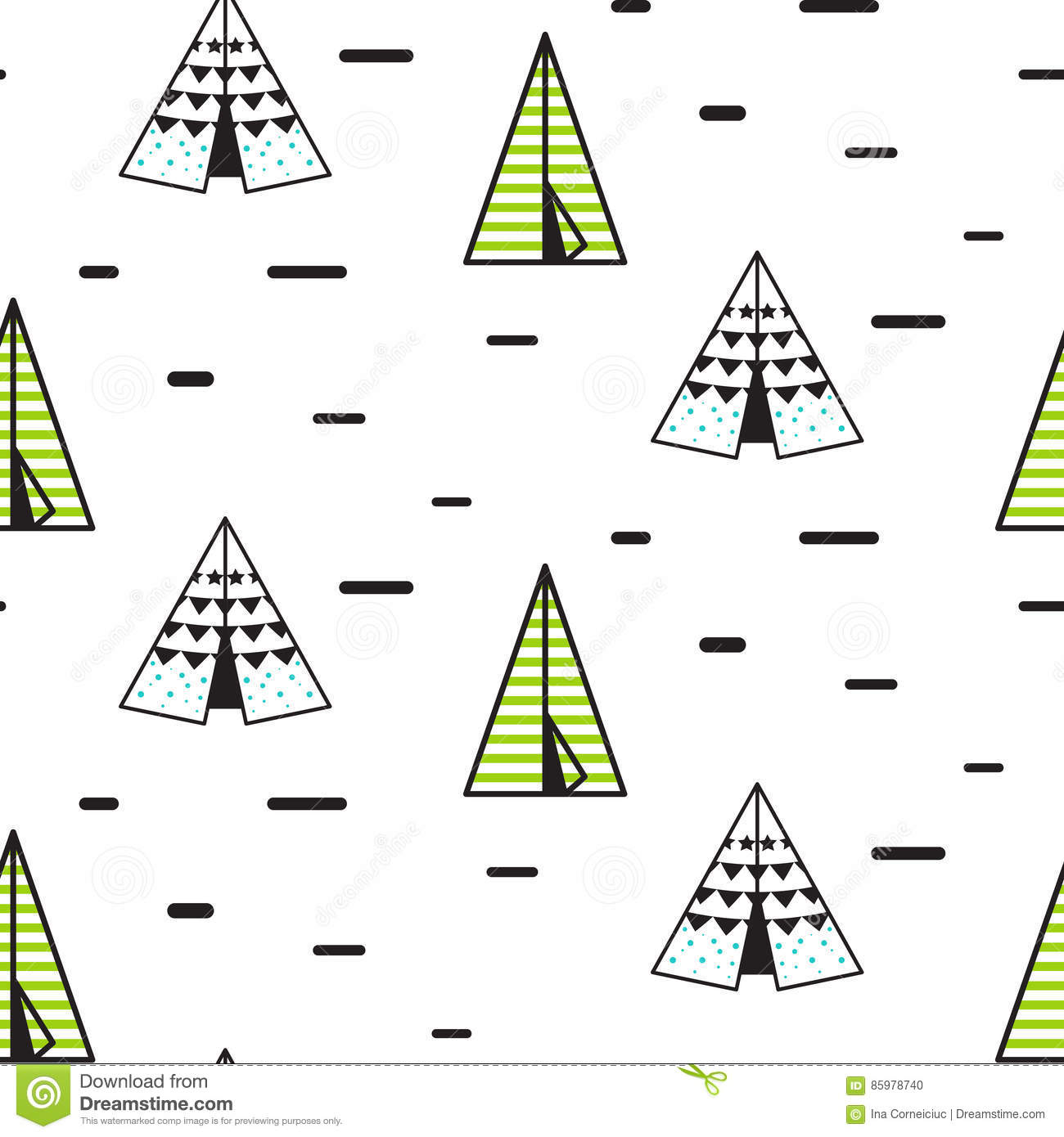 Teepee tent vector seamless pattern.  sc 1 st  Dreamstime.com & Teepee Tent Vector Seamless Pattern. Stock Vector - Illustration ...