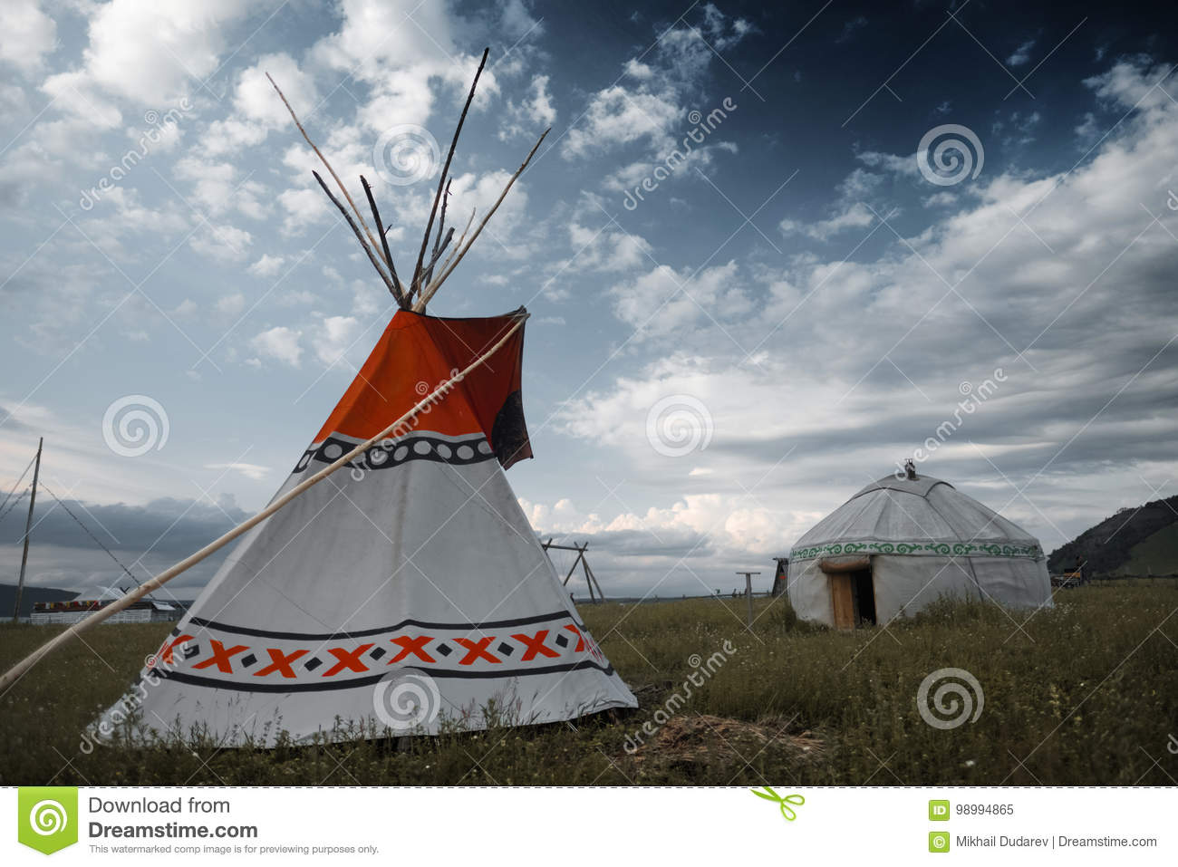 buy popular 43c6a 7421a Teepee and yurt stock image. Image of ethnic, green, meadow ...