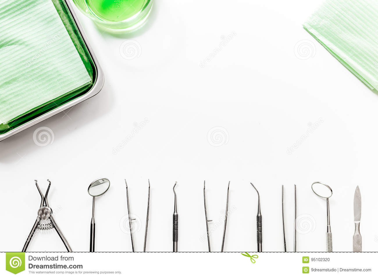 Teeth care with dentist instruments in doctors office white download teeth care with dentist instruments in doctors office white background top view mock ccuart Choice Image