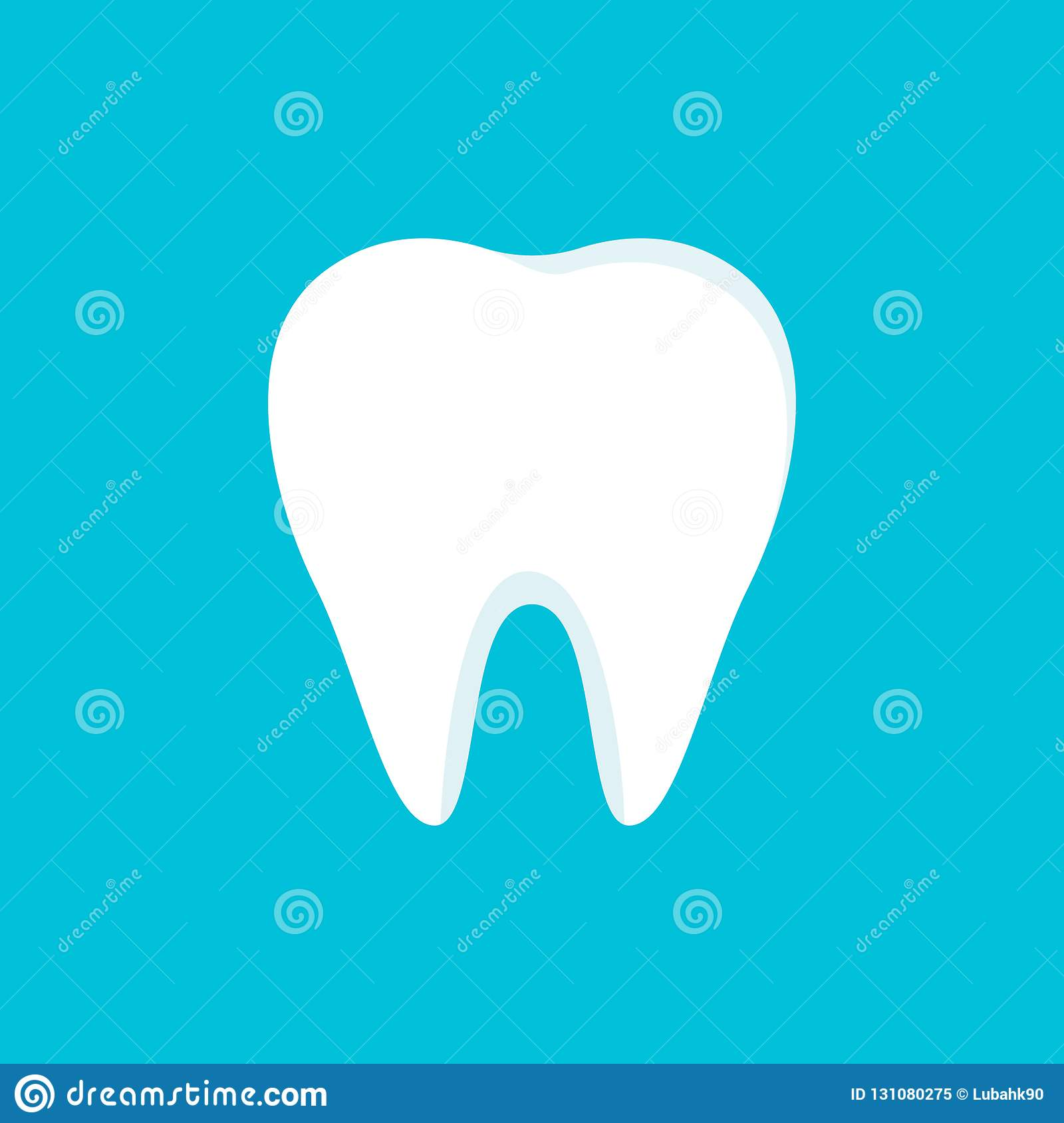 Teeth icon isolated on blue background. Clean tooth concept in flat style. Brushing teeth. Dental clinic design. Teeth symbol for