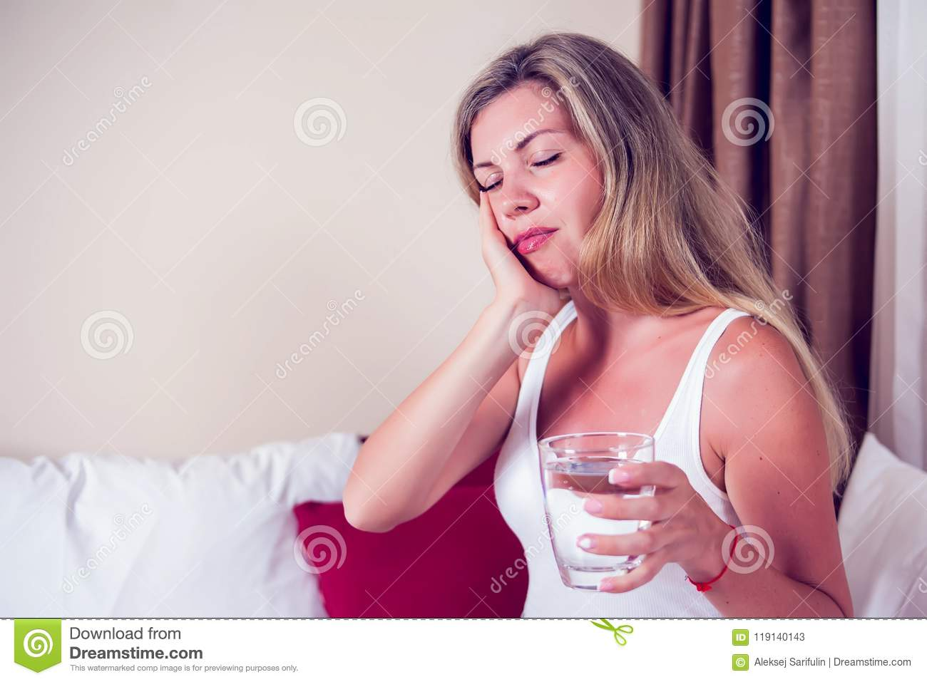 Teeth Problem. Woman Feeling Tooth Pain. Attractive Female Feeling Painful Toothache. Dental Health And Care Concept. High