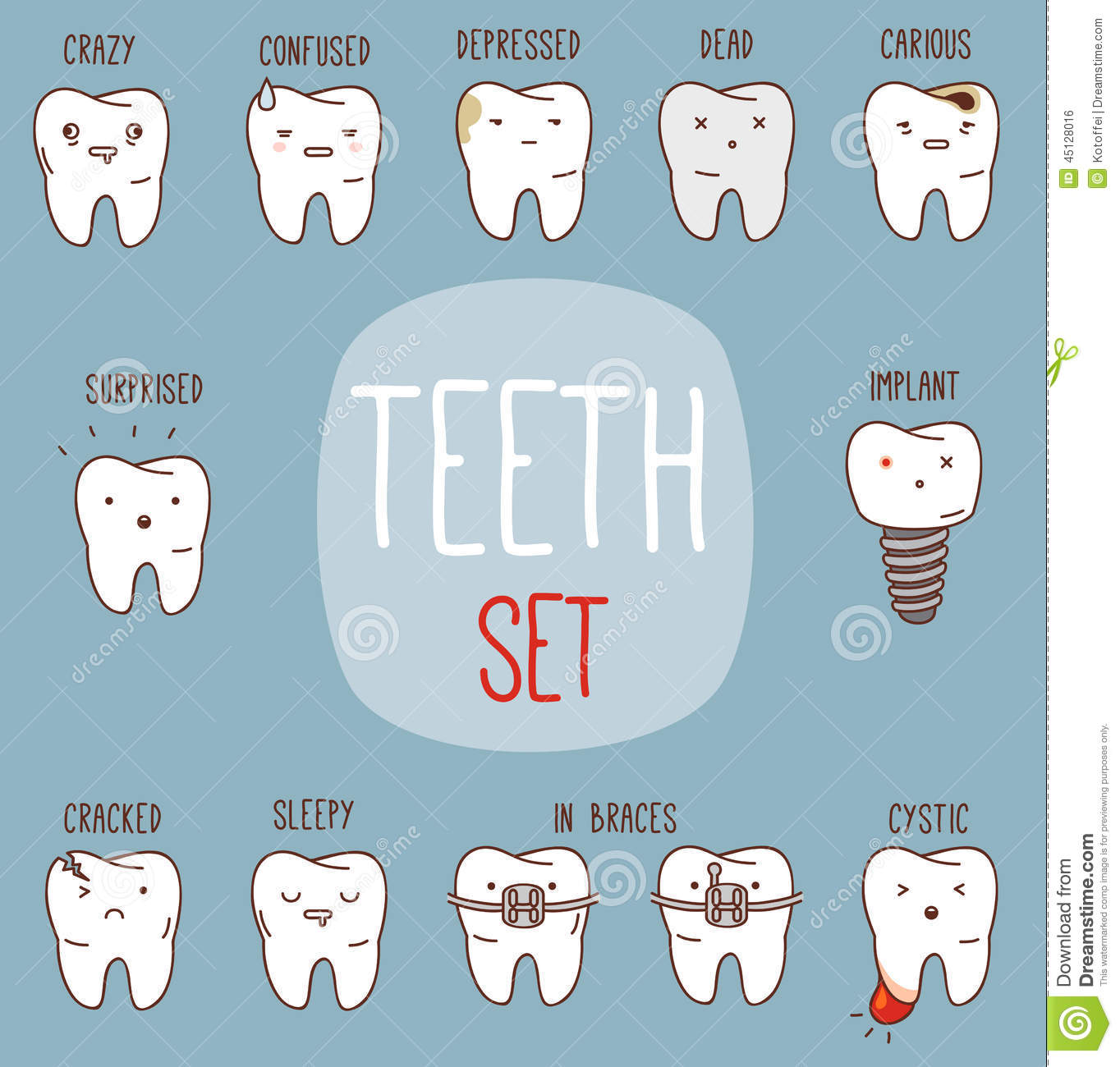 Teeth treatment set. Dental collection for your design with different ...