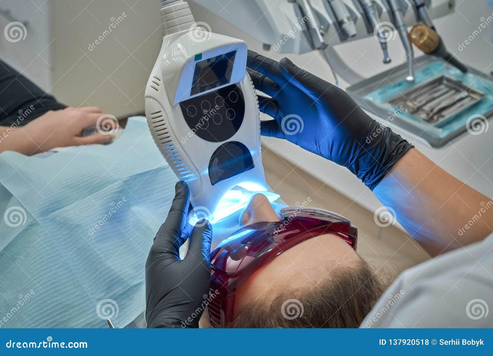 Teeth Whitening Procedure With Uv Light Stock Photo Image Of