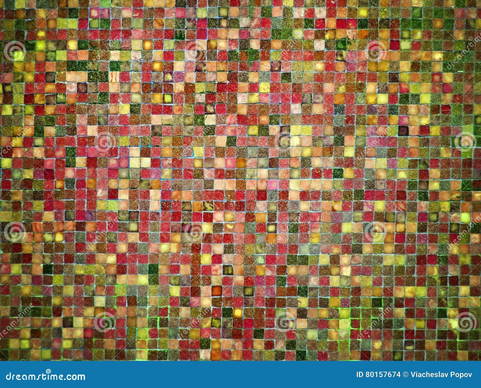 Groene Mozaiek Tegels : Tegels van het gradiënt de rode en groene gekleurde mozaïek stock