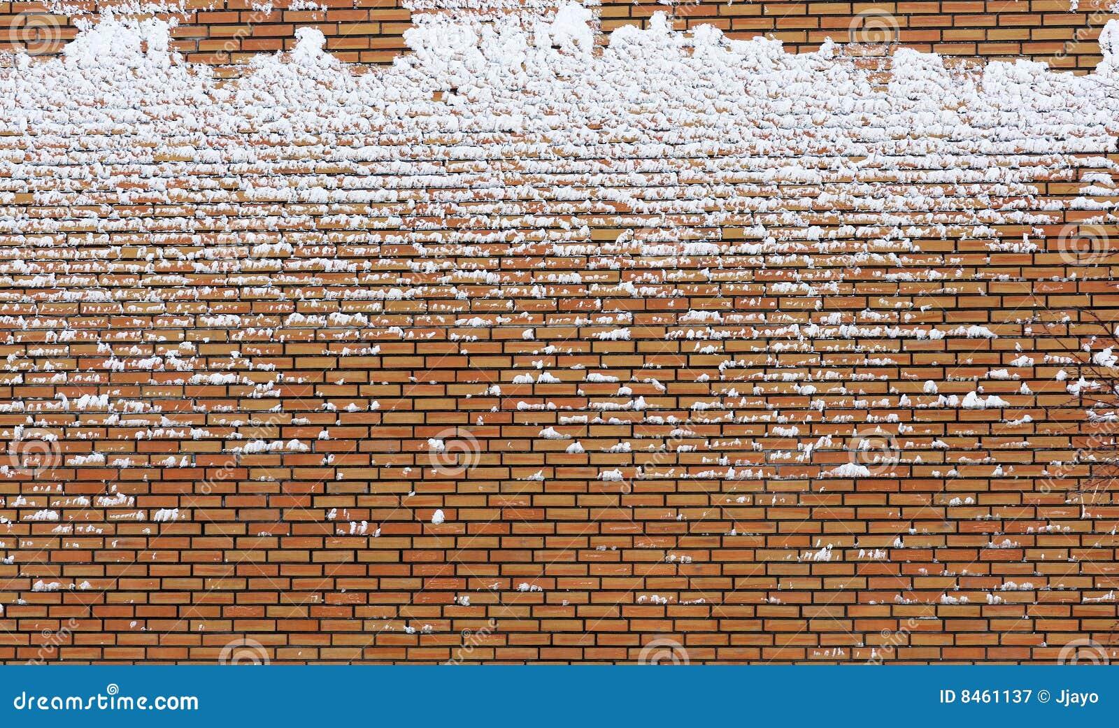 Tegelsten räknad fryst snowvägg