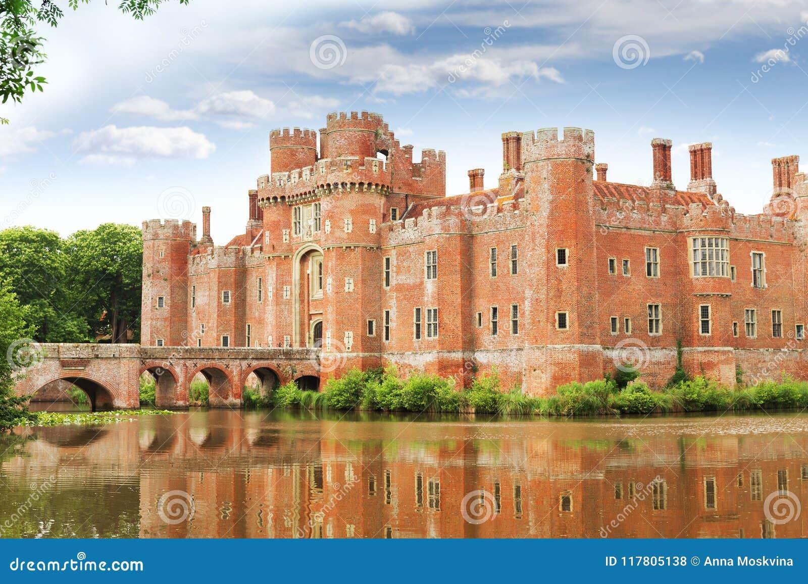 TegelstenHerstmonceux slott i England det östliga Sussex 15th århundradet