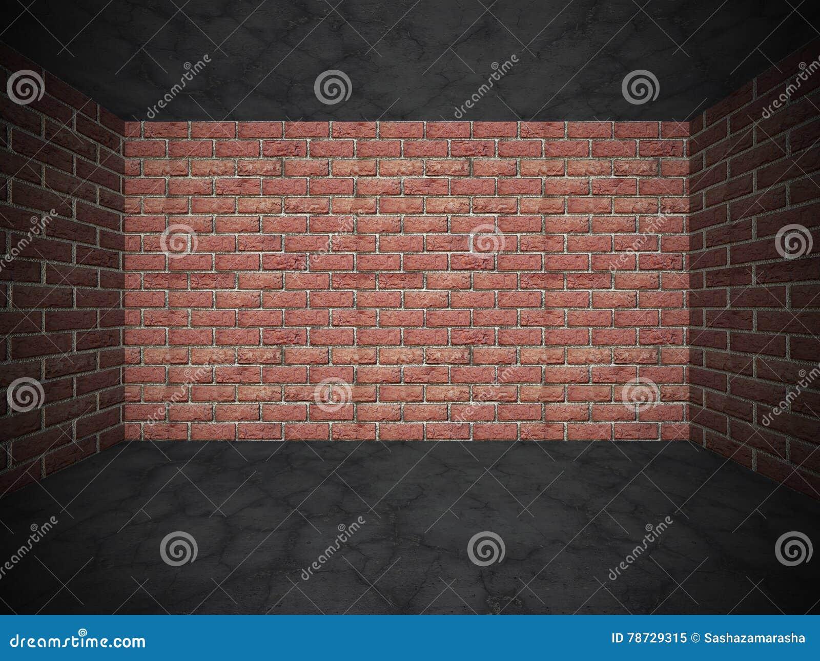 Tegelstenvägg och betong knäckt stengolv Kan användas som en vykort