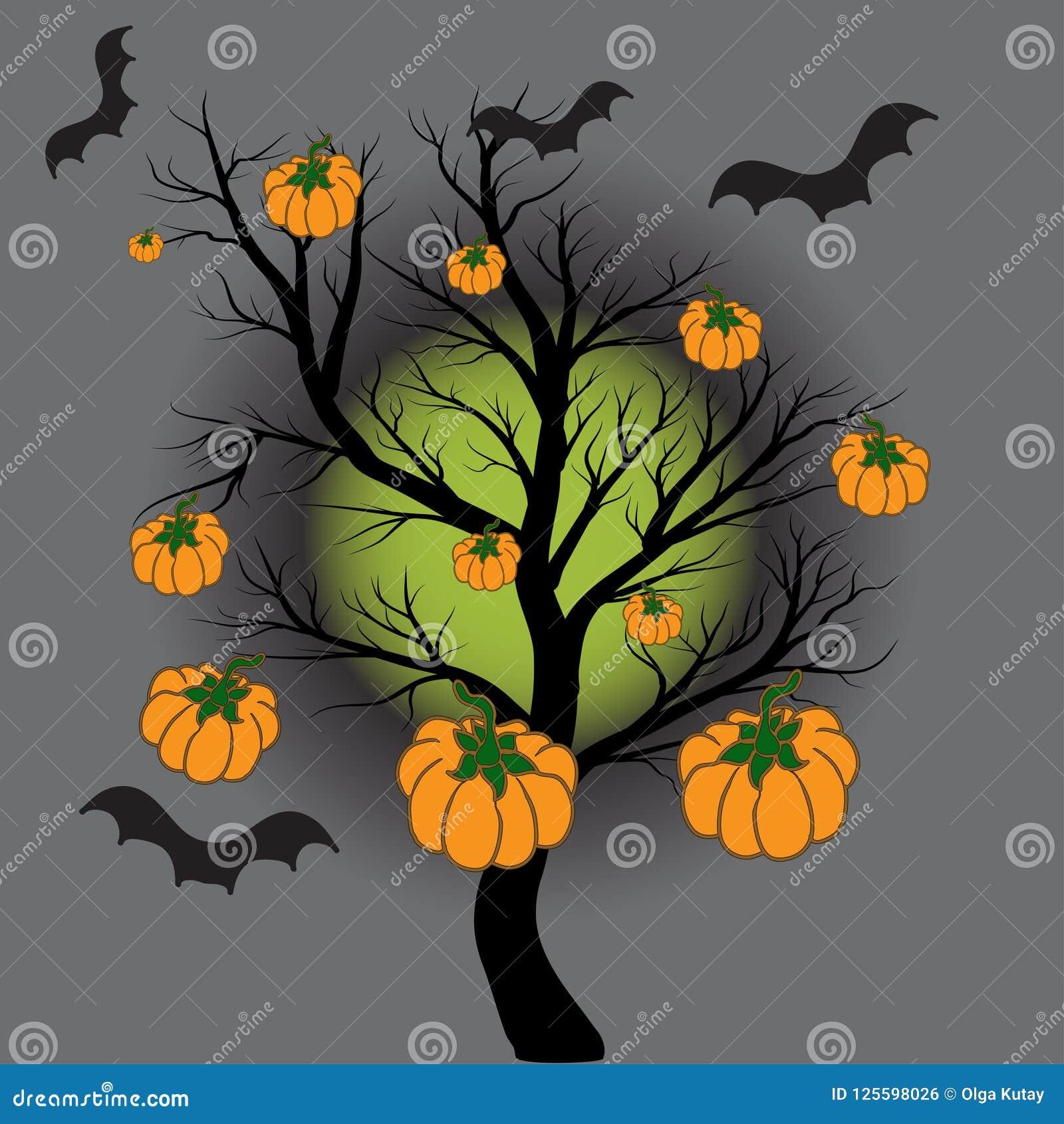 Tegen de achtergrond van de volle maan, een boom zonder bladeren Op een boom van een pompoen
