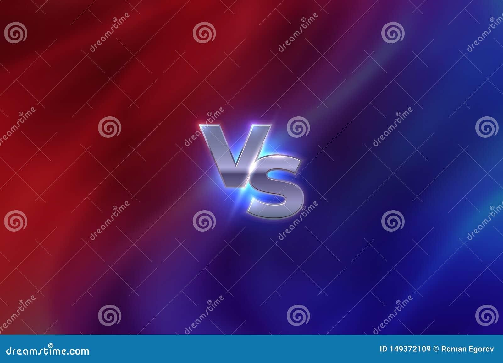 Tegenover Concept VERSUS de concurrentieembleem van de brievensport, het concept van de spelslag, MMA-het bannerscherm Vector teg