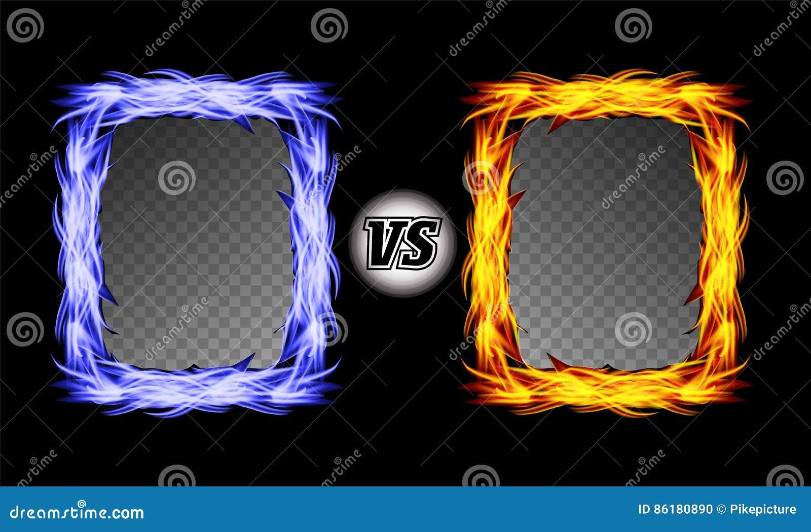 Tegenover Vectorsymbool met Brandkaders VERSUS Brieven Van de achtergrond vlamstrijd Ontwerp Het concept van de concurrentie stri