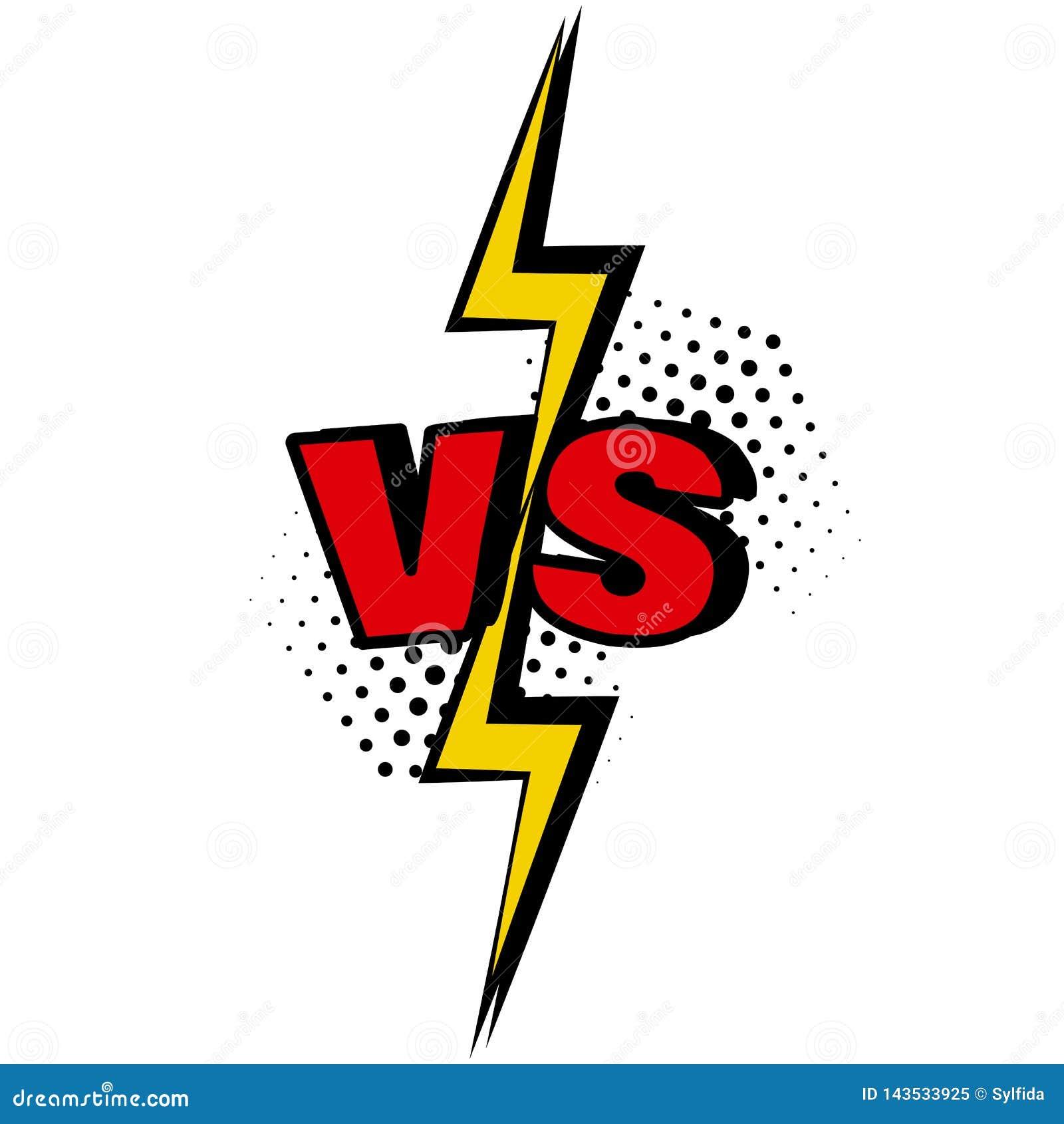 Tegenover VERSUS woord in pop-artstijl Slag versus gelijke, spel Vector
