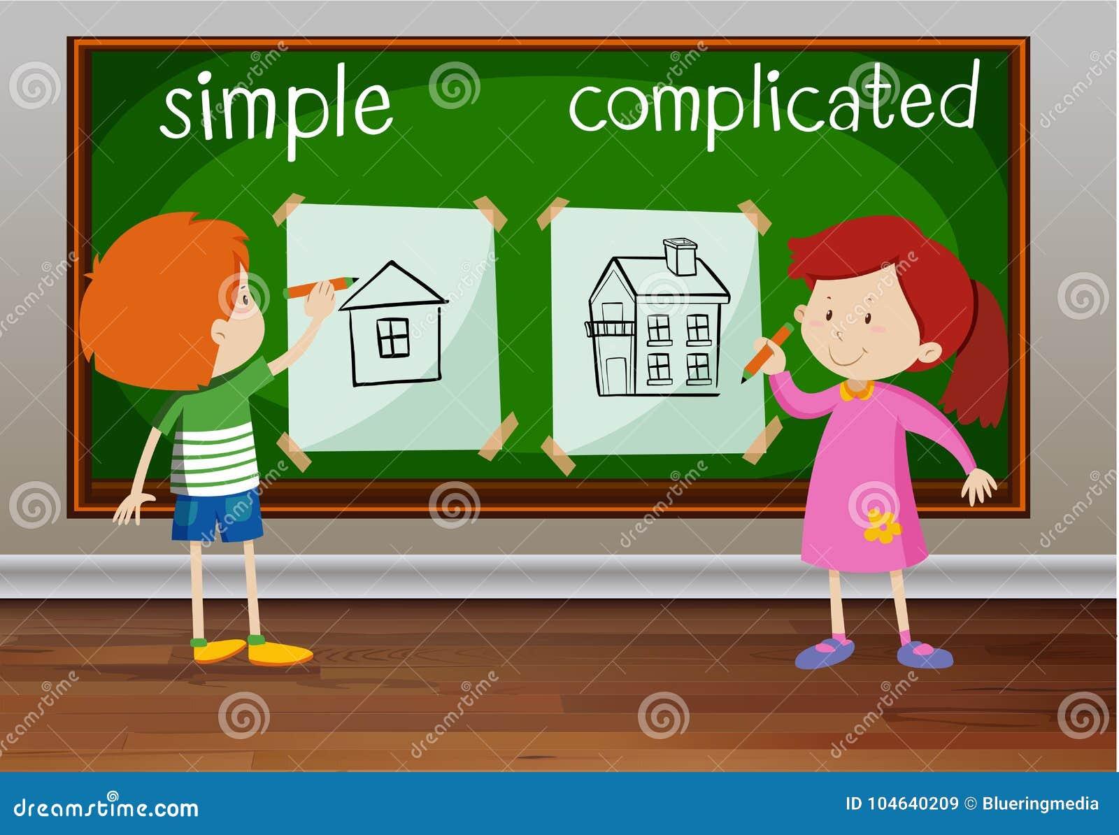 Download Tegenovergestelde Woorden Voor Eenvoudig En Ingewikkeld Vector Illustratie - Illustratie bestaande uit doodles, tekening: 104640209