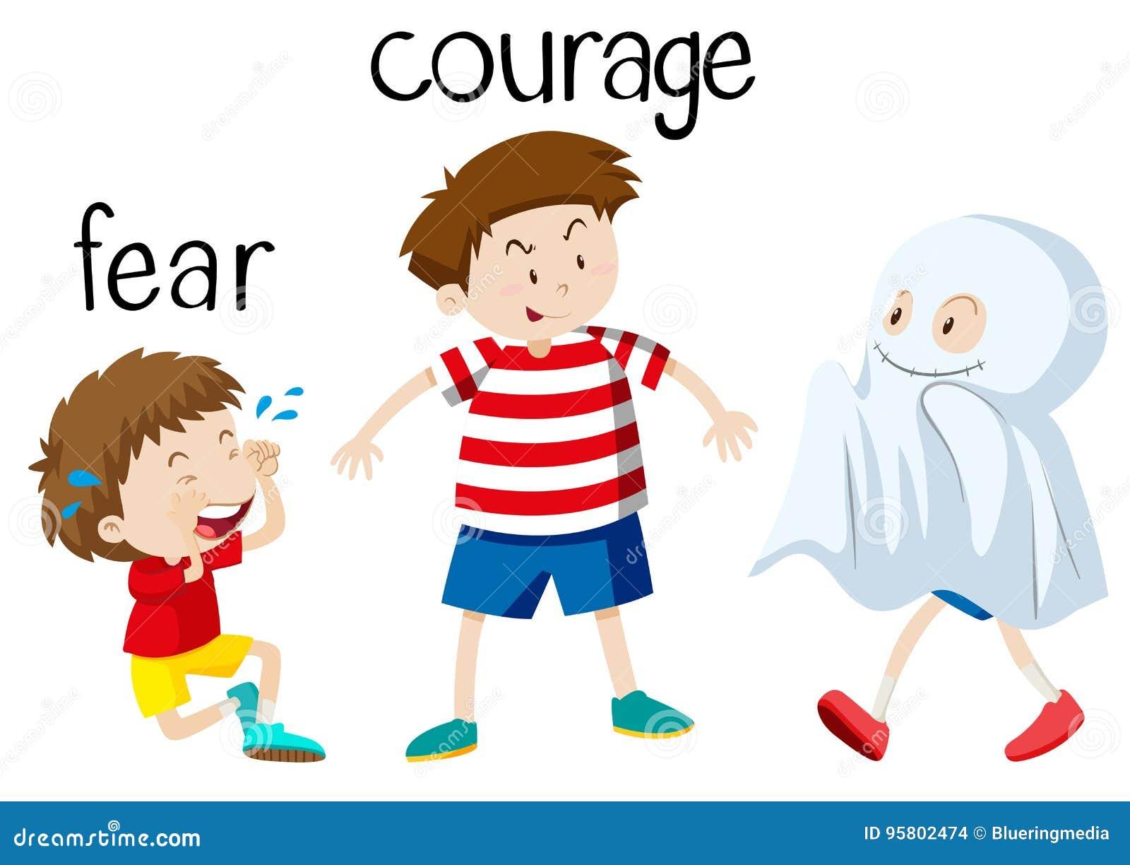 Tegenovergestelde wordcard voor vrees en moed