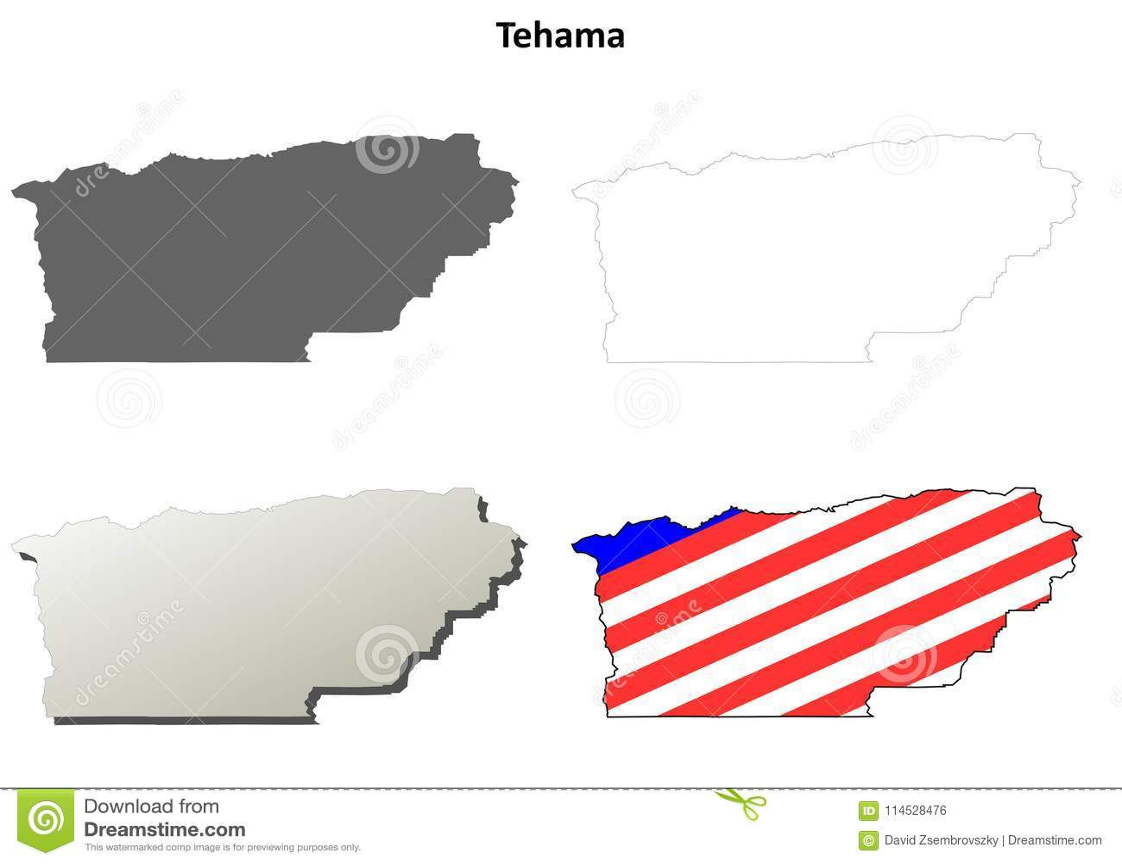 Tehama County California Outline Map Set Stock Vector