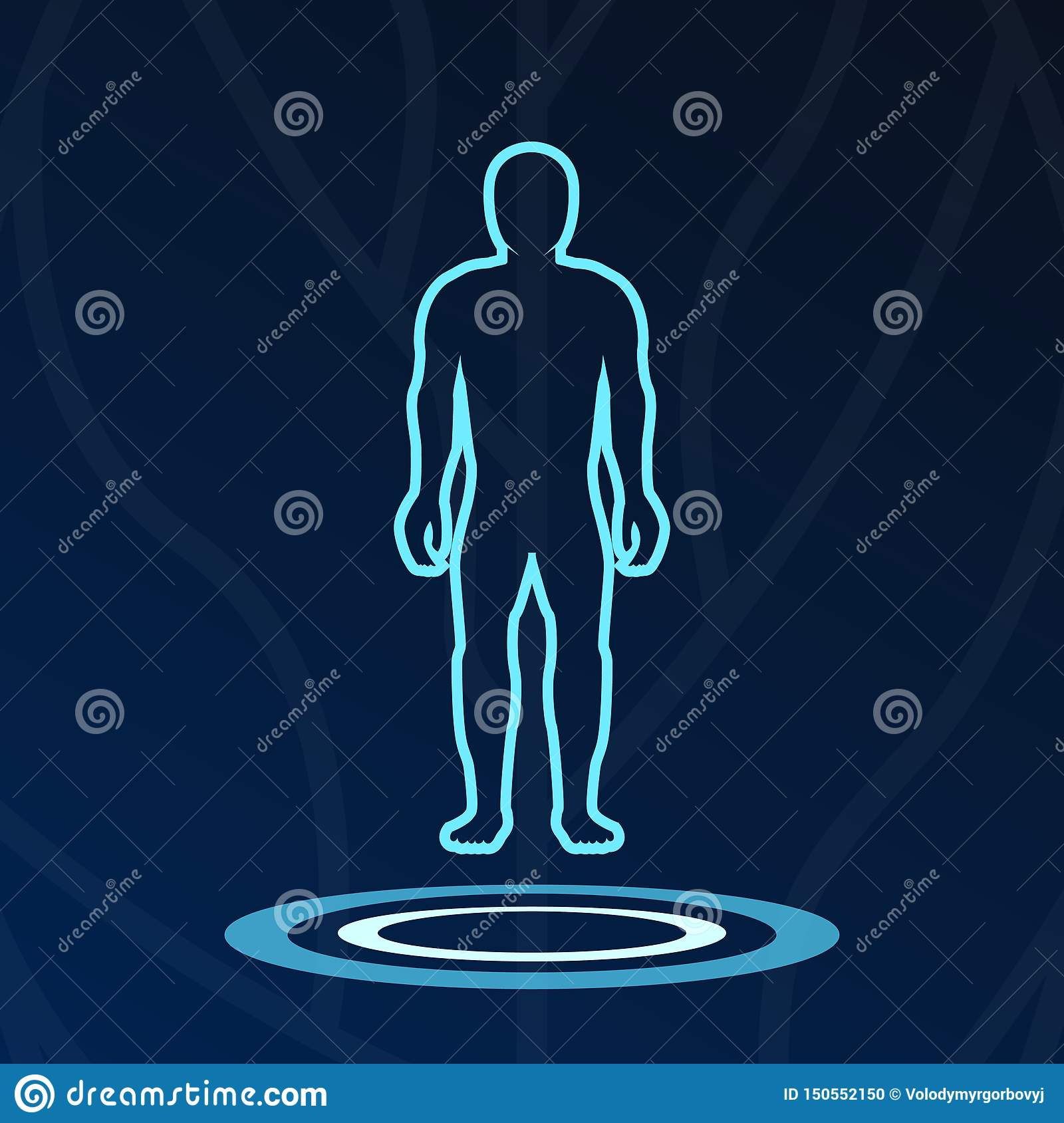 Abstract body hologram lights logotype