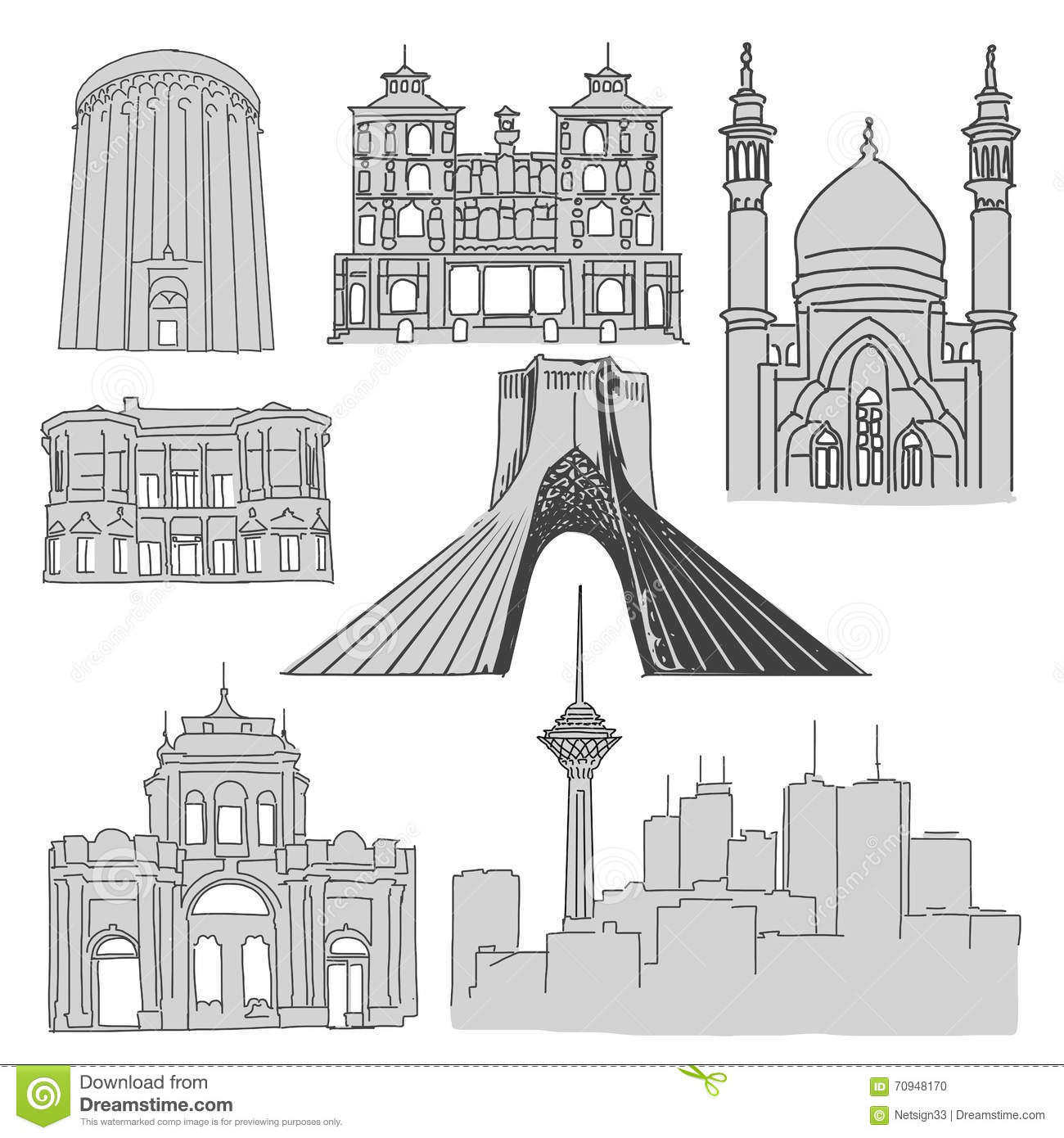 tehran famous buildings outline sketch vector illustration 70948170. Black Bedroom Furniture Sets. Home Design Ideas