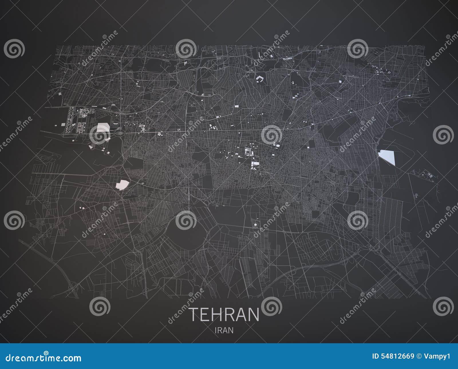 Tehran streets and buildings 3d map Iran