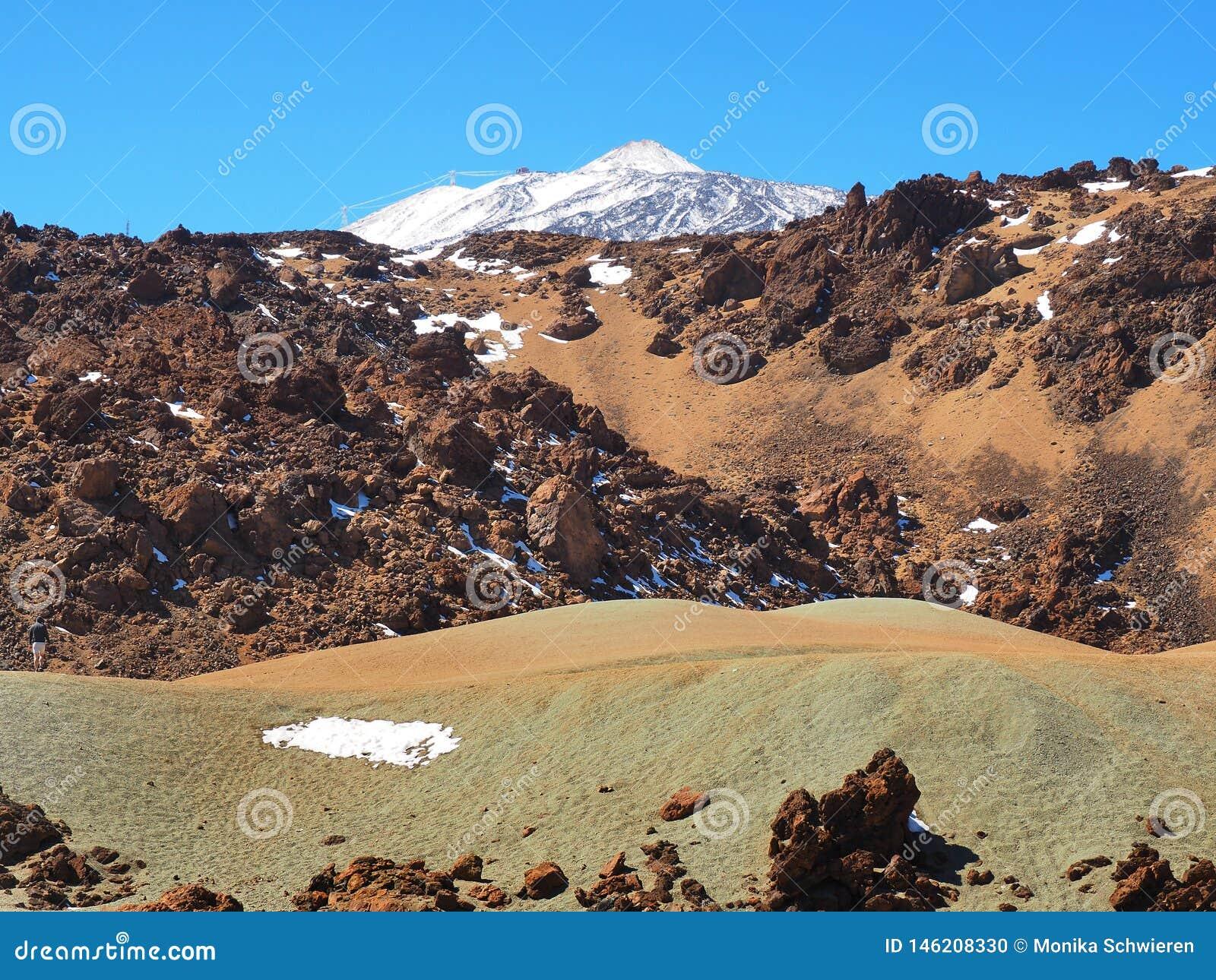 Teide park narodowy, widok od pustyni na śnieżnym przypływie