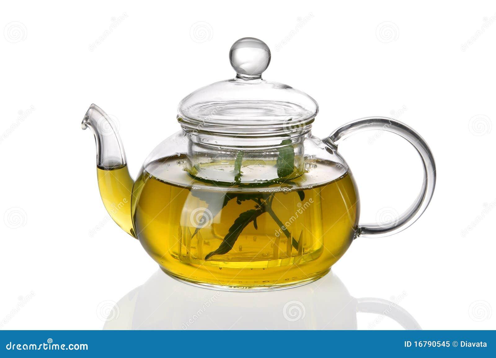 Teiera con tè ed i fogli freschi