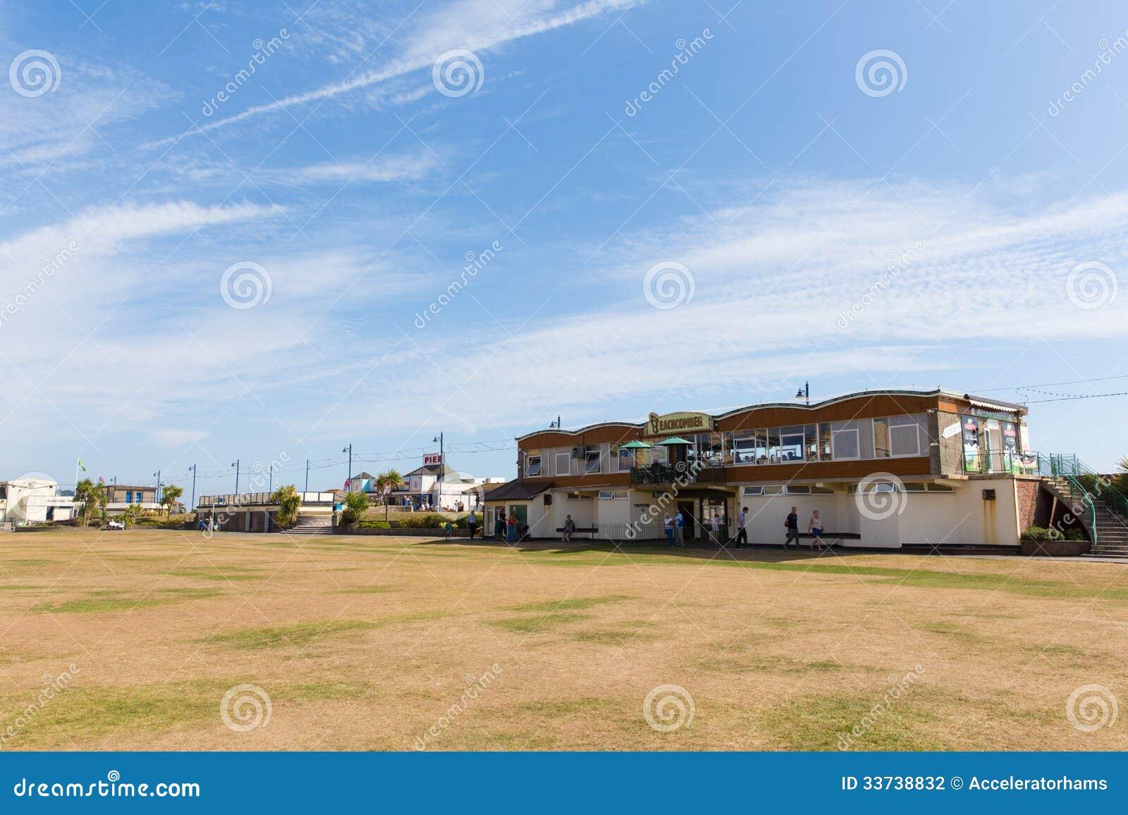 Teignmouth沿海岸区海滩草坪德文郡英国