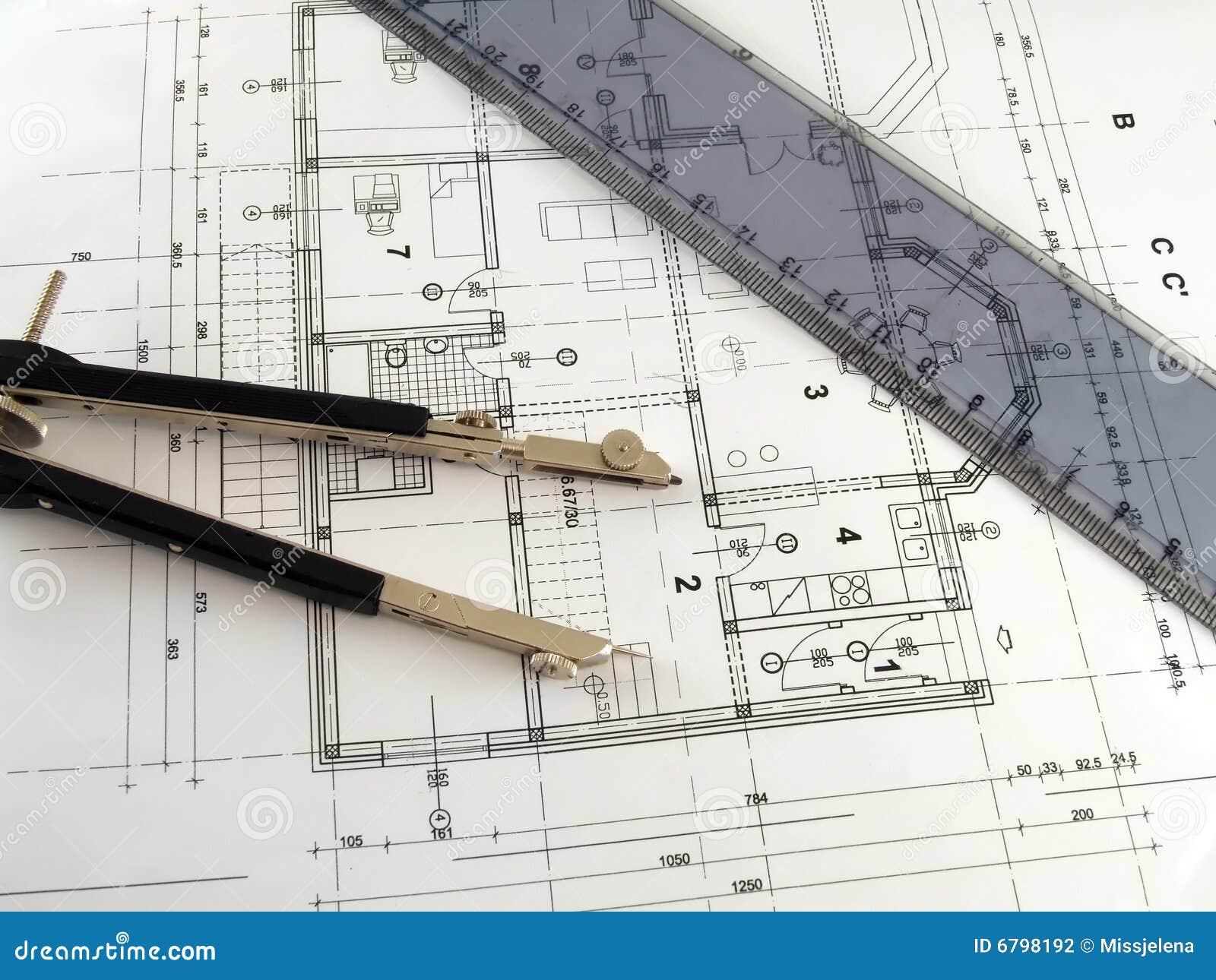 Teiler und tabellierprogramm auf architekturplan stockfoto - Architektur plan ...