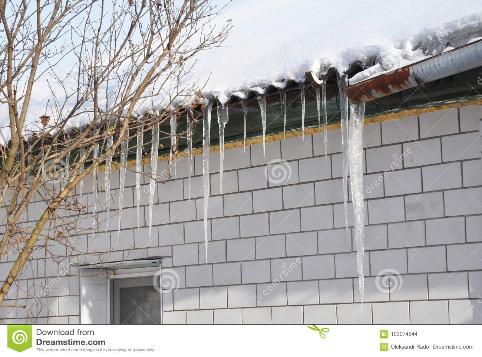 Tejado y canal del daño de los carámbanos El contener del hielo