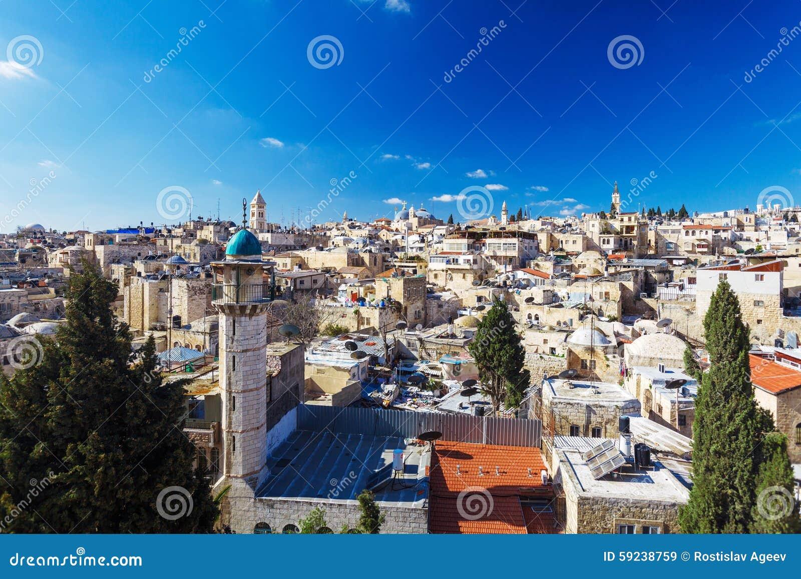 Tejados de la ciudad vieja con la bóveda de la iglesia de Santo Sepulcro, Jerusalén