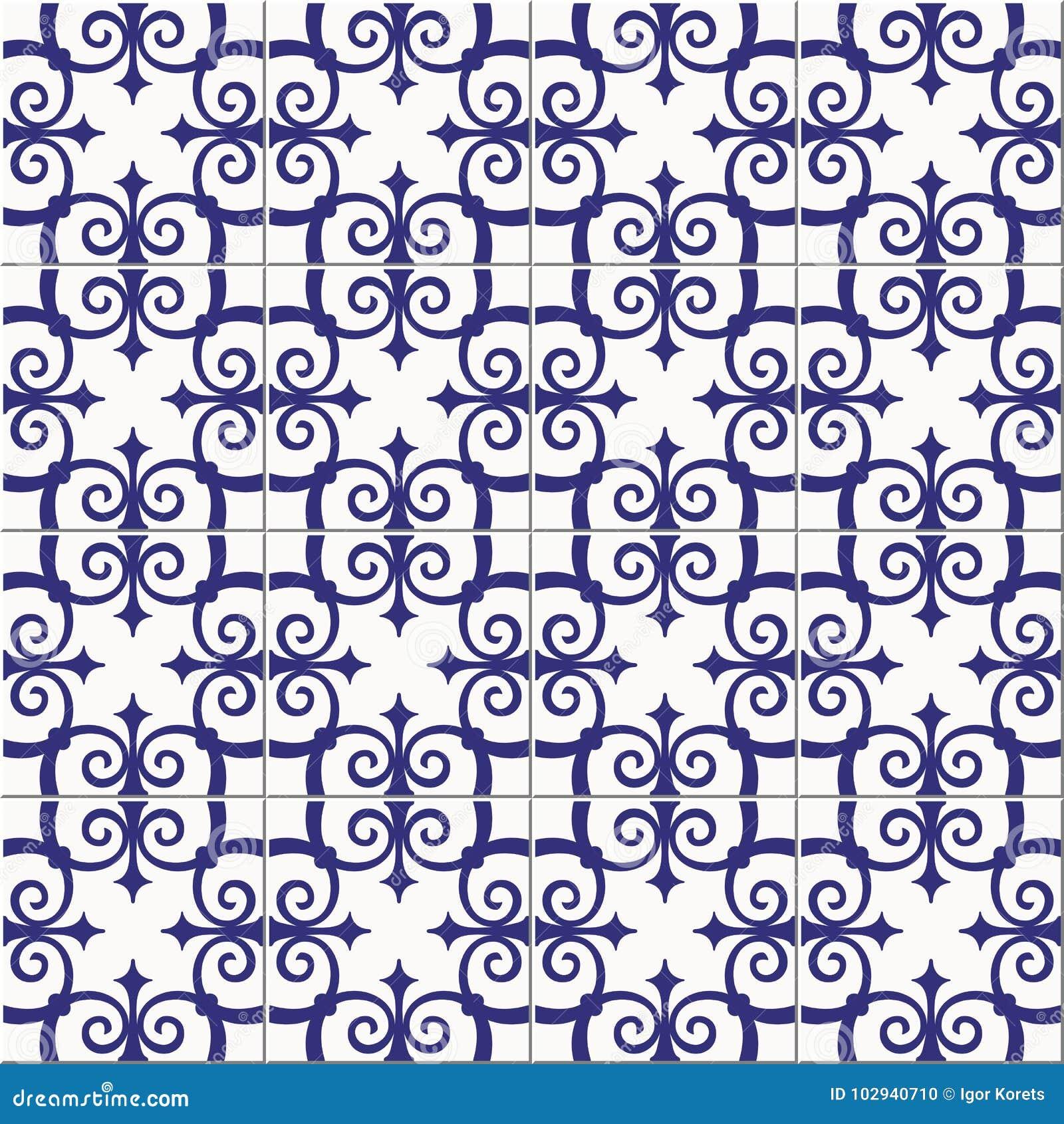 Tejas marroquíes del modelo inconsútil magnífico, portuguesas azules blancas, Azulejo, ornamentos Puede ser utilizado para el pap