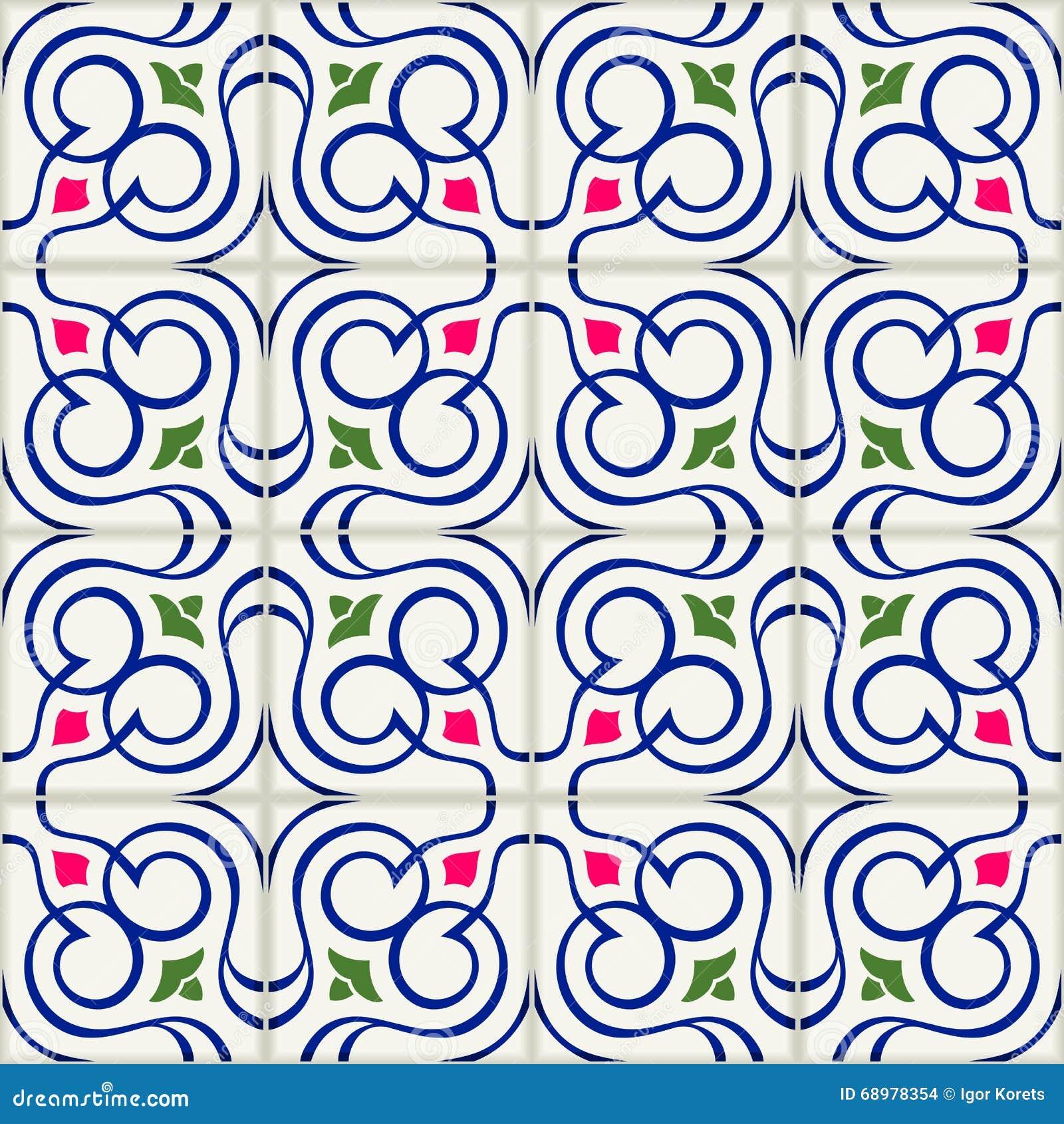 Tejas turcas del modelo inconsútil magnífico, marroquíes, portuguesas blancas, Azulejo, ornamento árabe Arte islámico