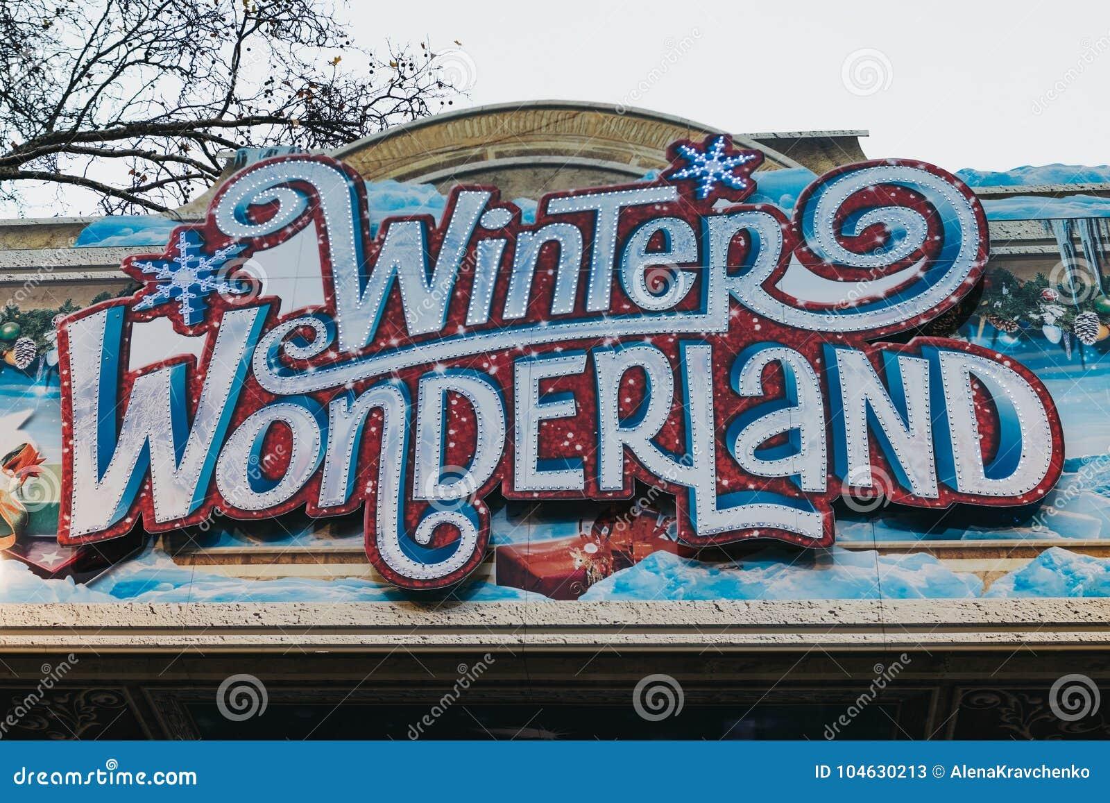 Download Teken Bij De Ingang Aan De Wintersprookjesland, Londen, Het UK Redactionele Stock Foto - Afbeelding bestaande uit jaarlijks, pret: 104630213
