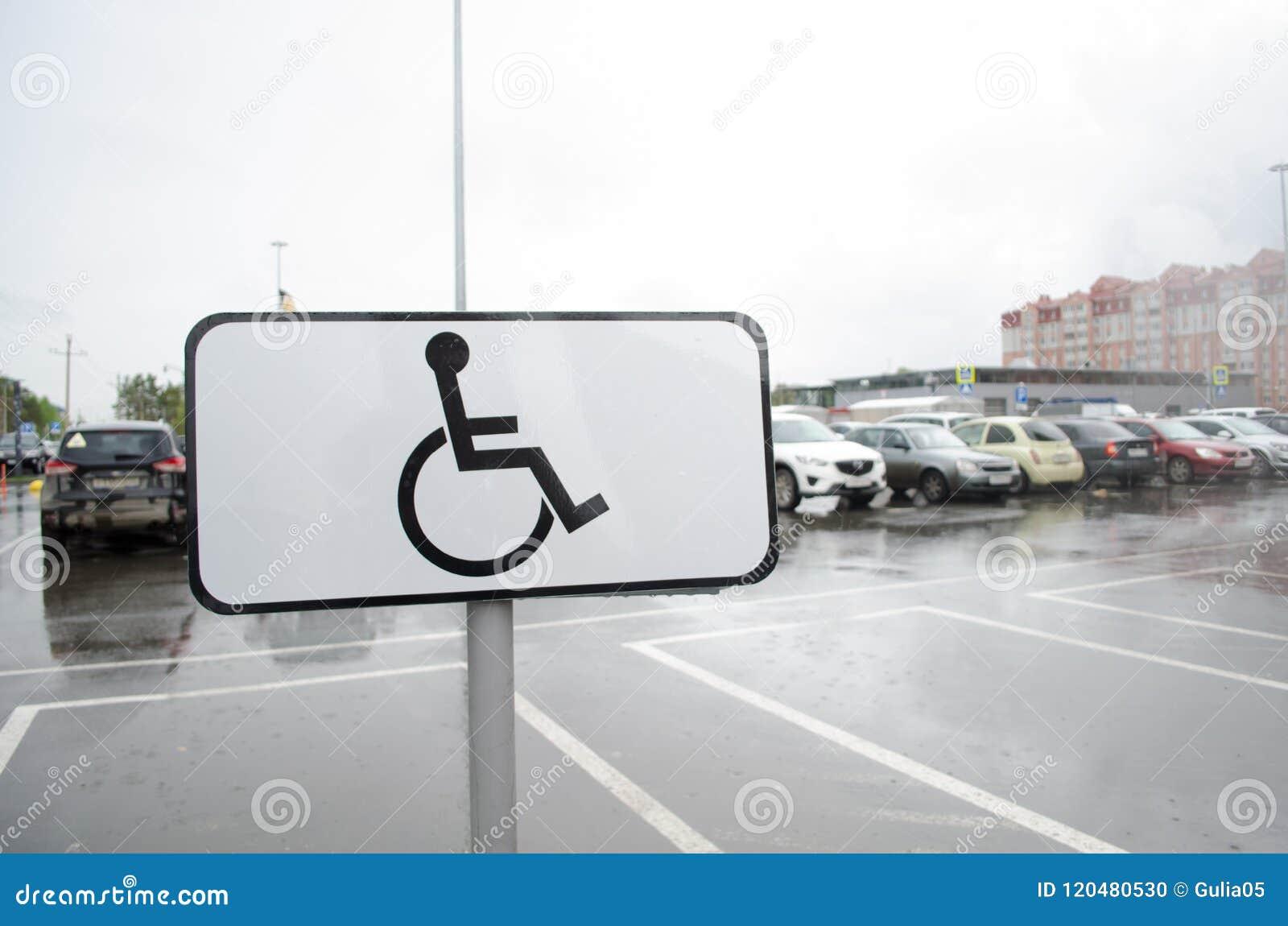 Teken ` de Plaats voor mensen gehandicapte ` parkeren