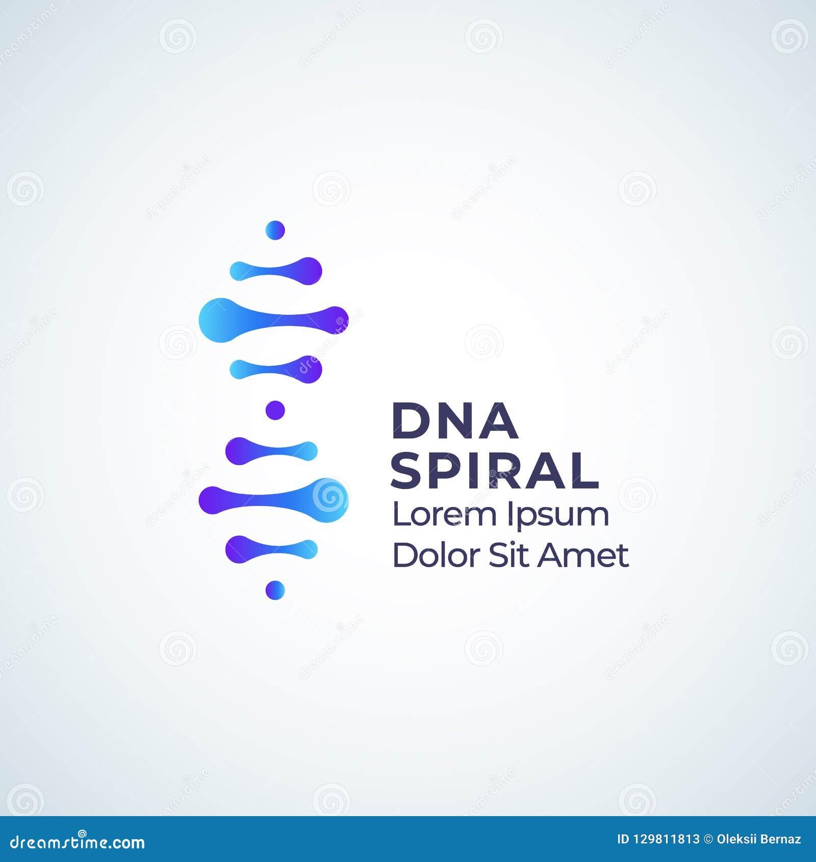 Teken, het Symbool of Logo Template van DNA het Spiraalvormige Abstracte Vector Modern Technologie, Geneeskunde of Biotechnologie