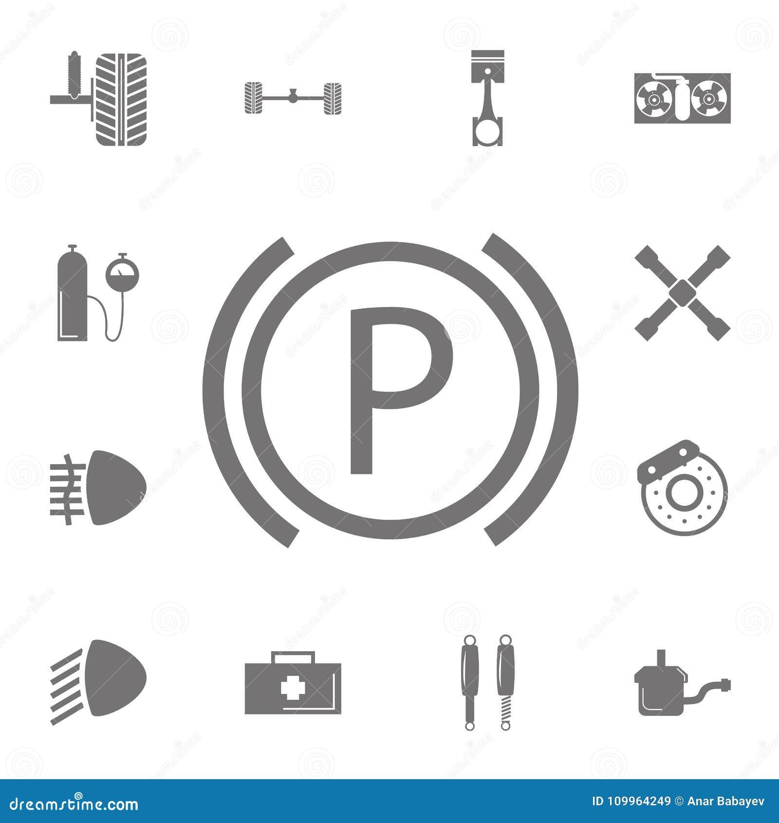 Teken Op Het Het Parkerenpictogram Van Het Autodashboard Reeks
