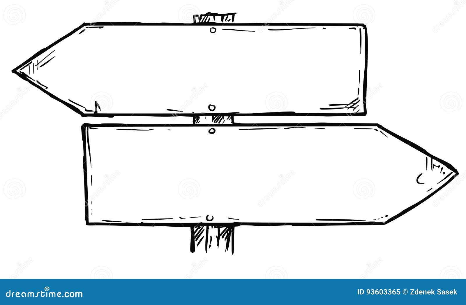 Teken van de beeldverhaal het Vector Lege Richting met Twee Besluitpijlen